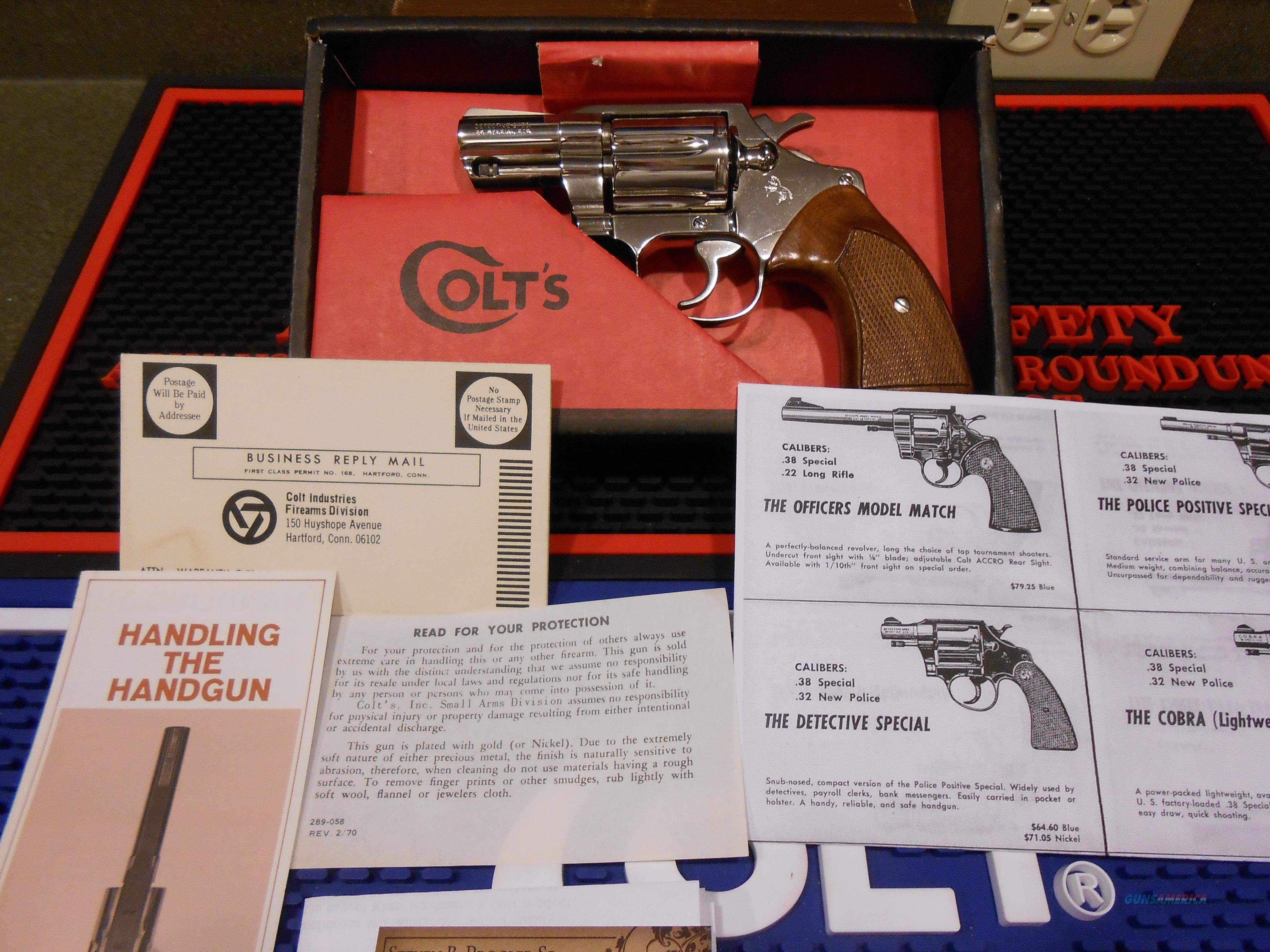 Colt Nickel Detective Special Unfired Complete  Guns > Pistols > Colt Double Action Revolvers- Modern