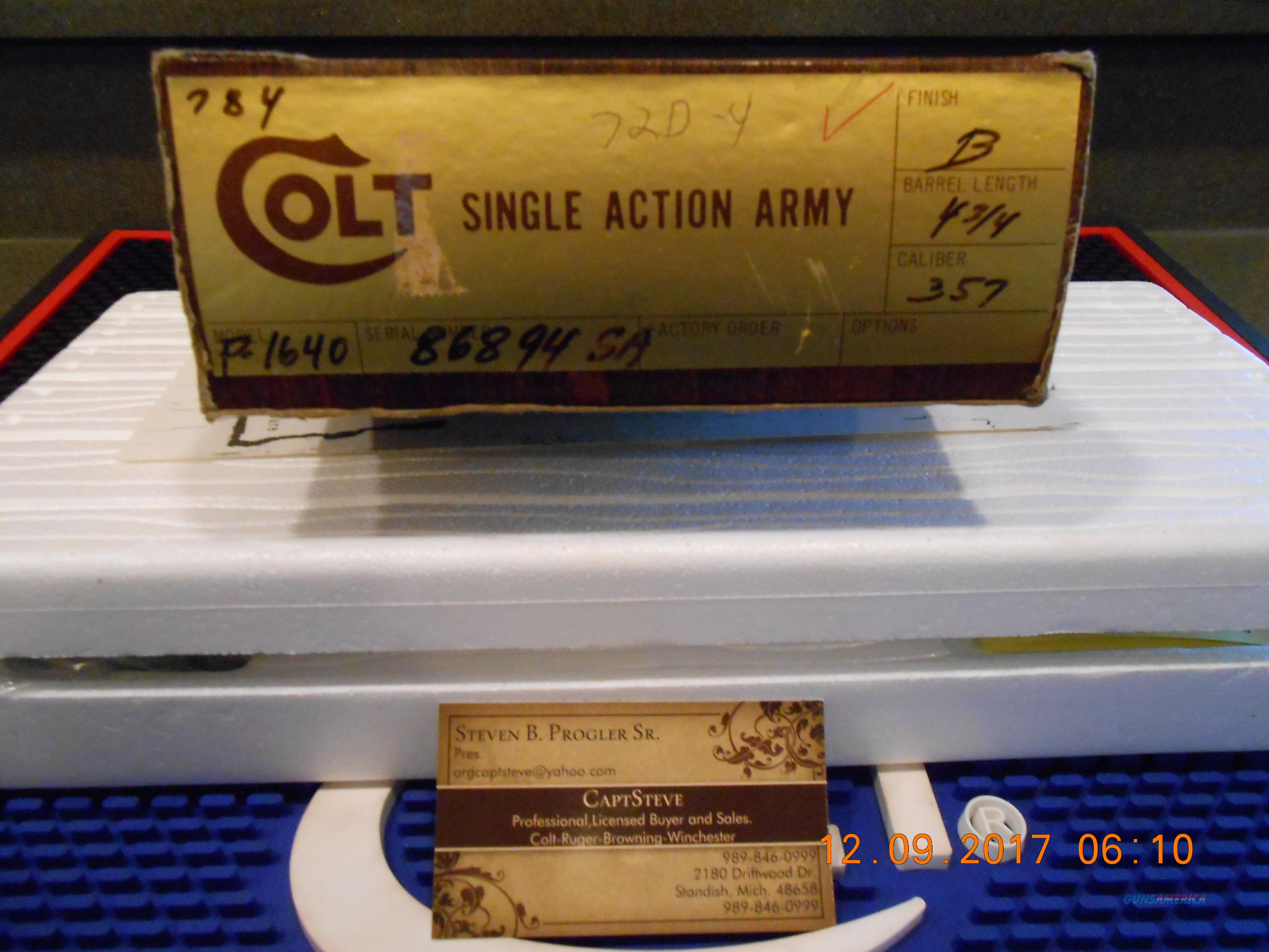 "NOS Colt SAA 3rd Gen. 357 Mag. 4 3/4"" Barrel P1640  Guns > Pistols > Colt Single Action Revolvers - 3rd Gen."