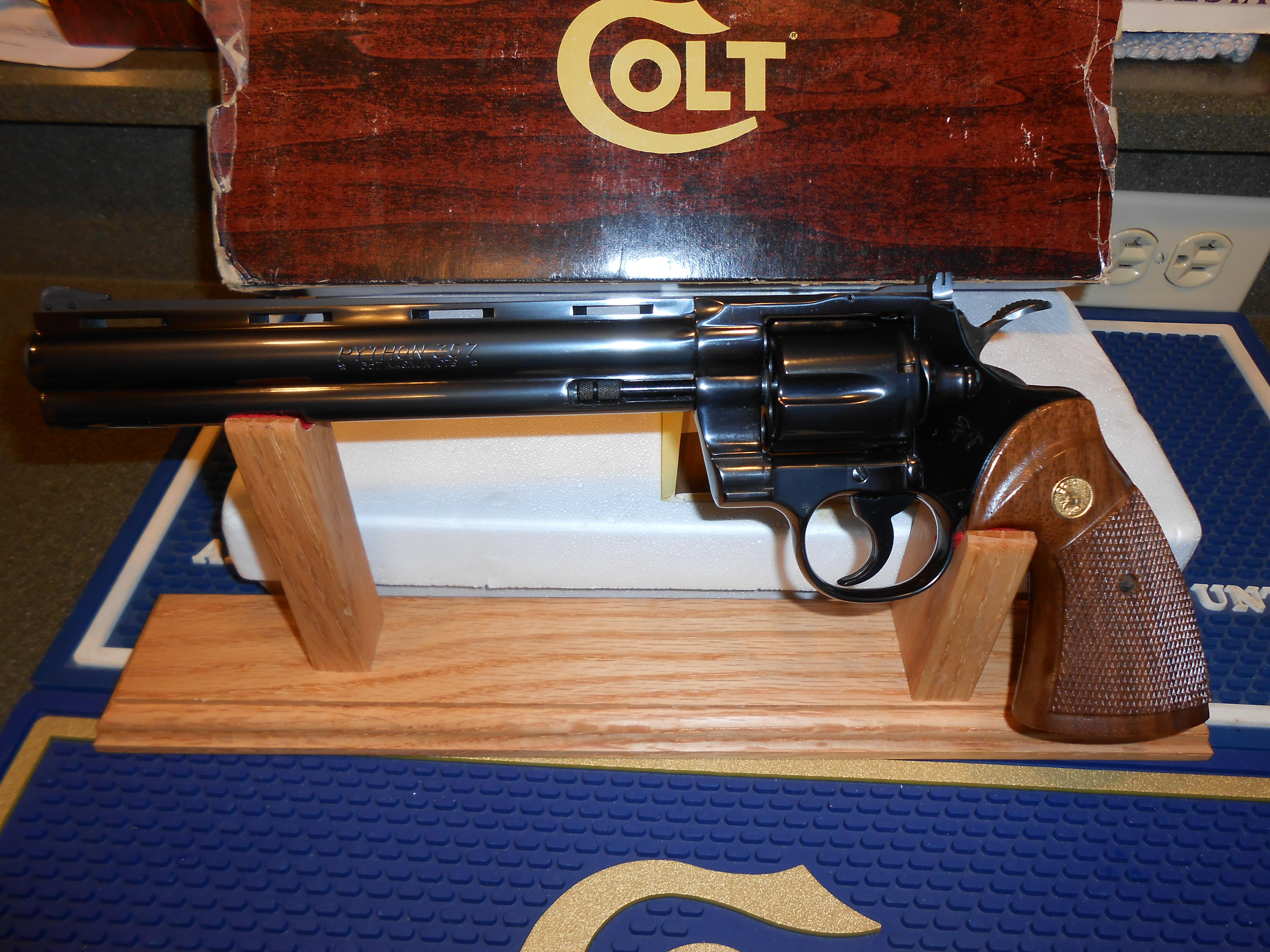 "Unfired Colt Python 8"" Blue Complete  Guns > Pistols > Colt Double Action Revolvers- Modern"