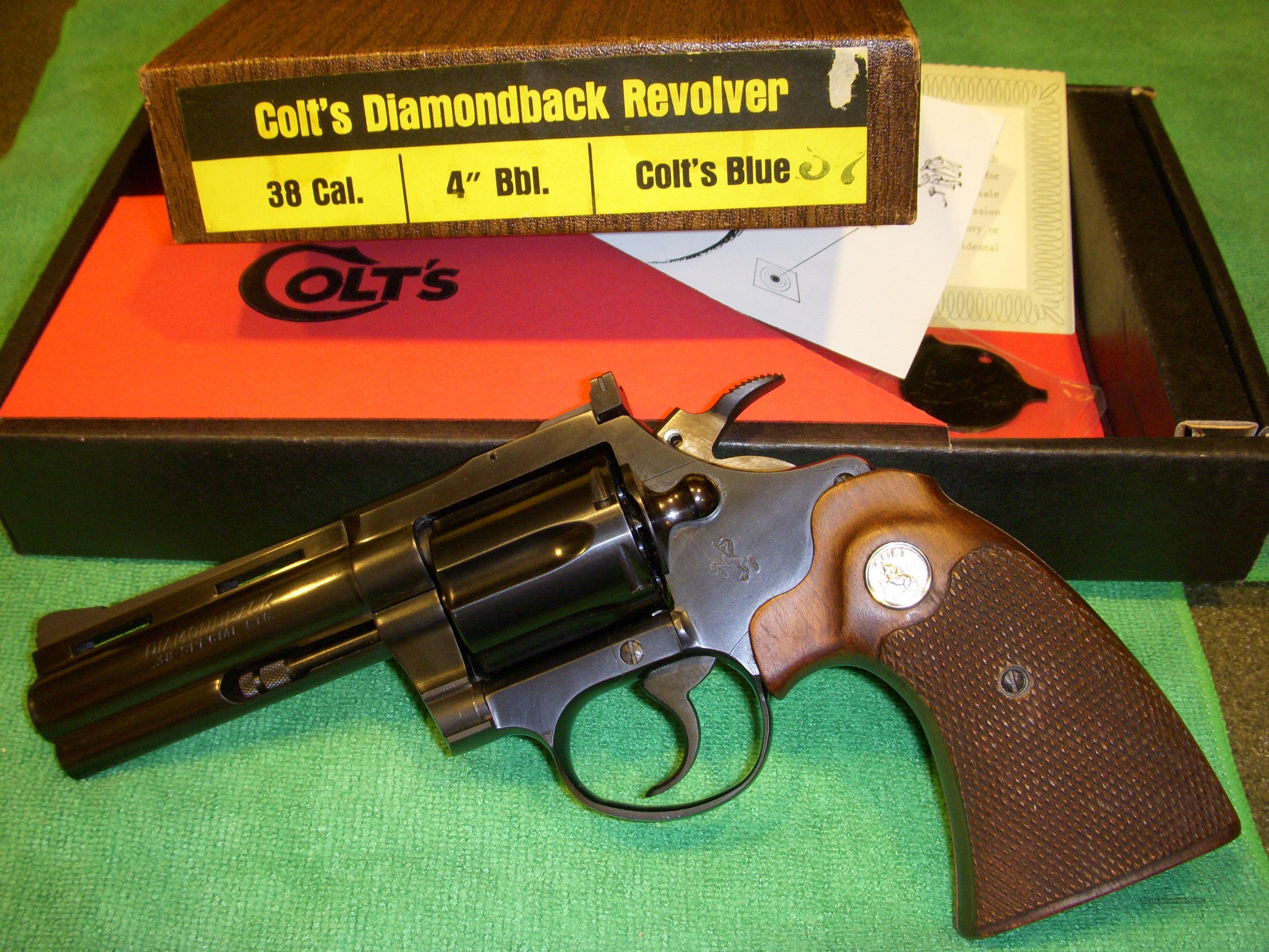 "Colt Diamondback 4"" Blue 38 Cal. Unfired/Rare  Guns > Pistols > Colt Double Action Revolvers- Modern"