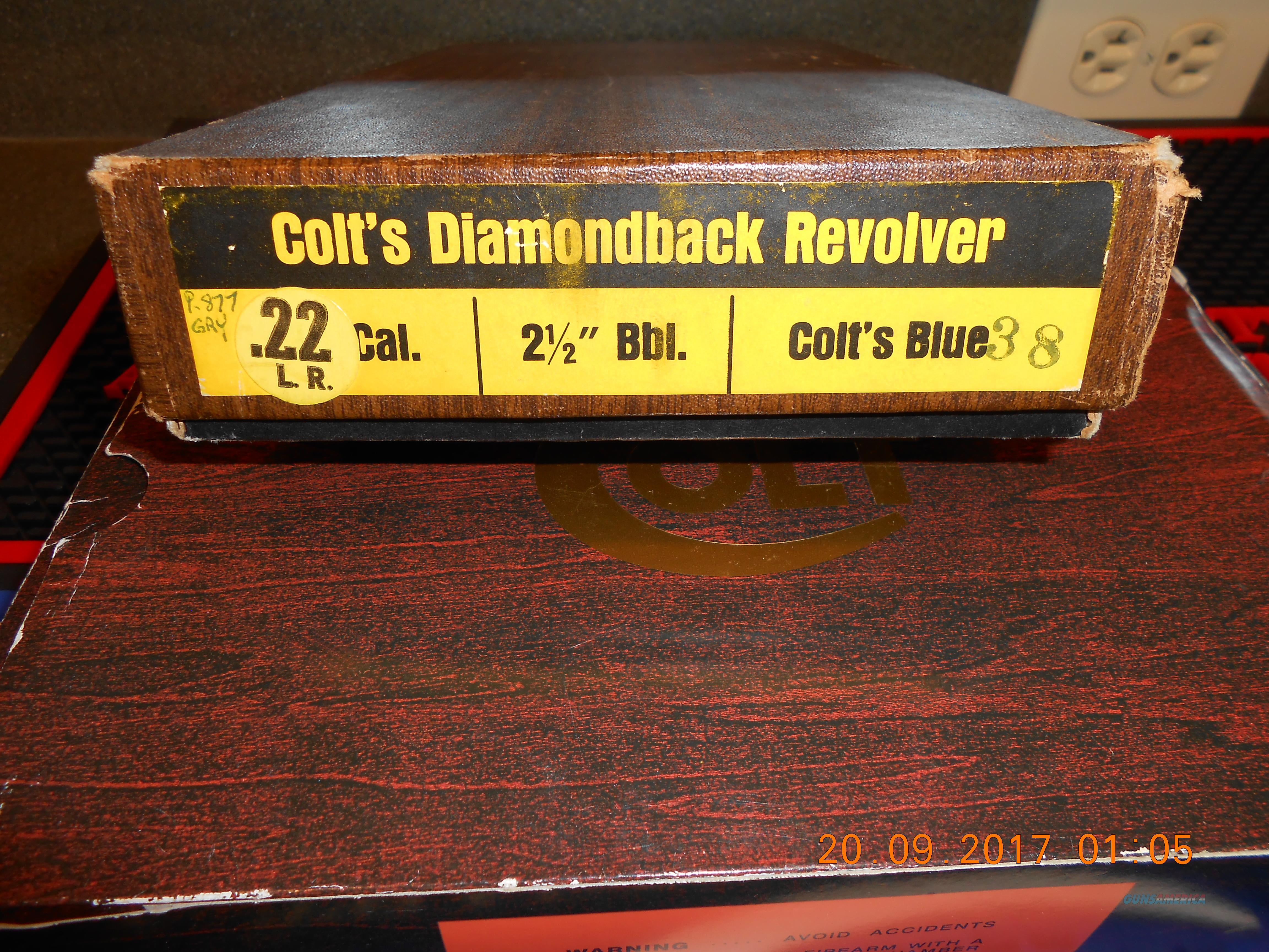"""Collectors, Scarce  Colt 2 1/2"""" Diamondback 22LR. Conplete  Guns > Pistols > Colt Double Action Revolvers- Modern"""