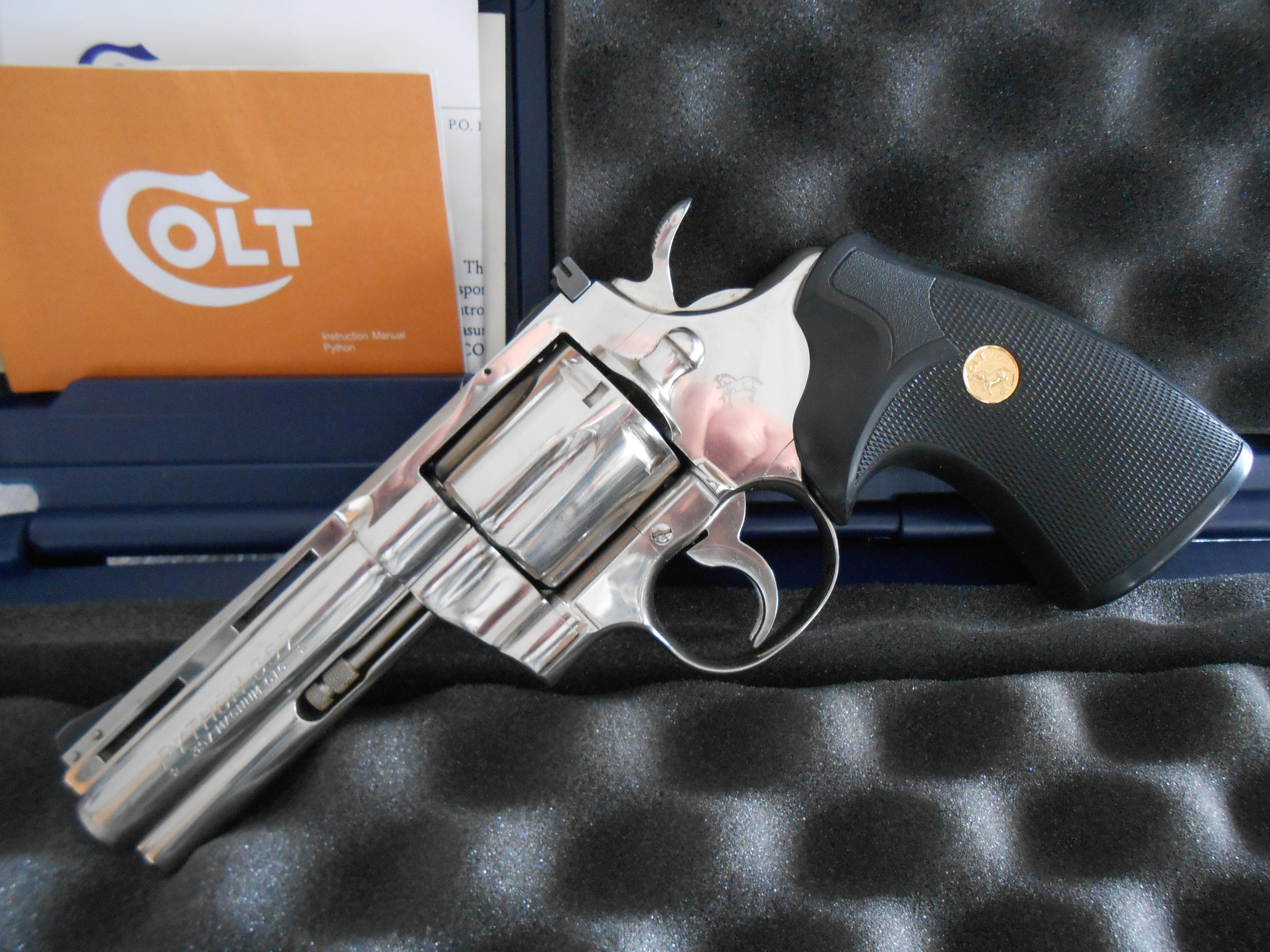 "Colt Python 4"" Nickel W/ Case,Papers  Guns > Pistols > Colt Double Action Revolvers- Modern"