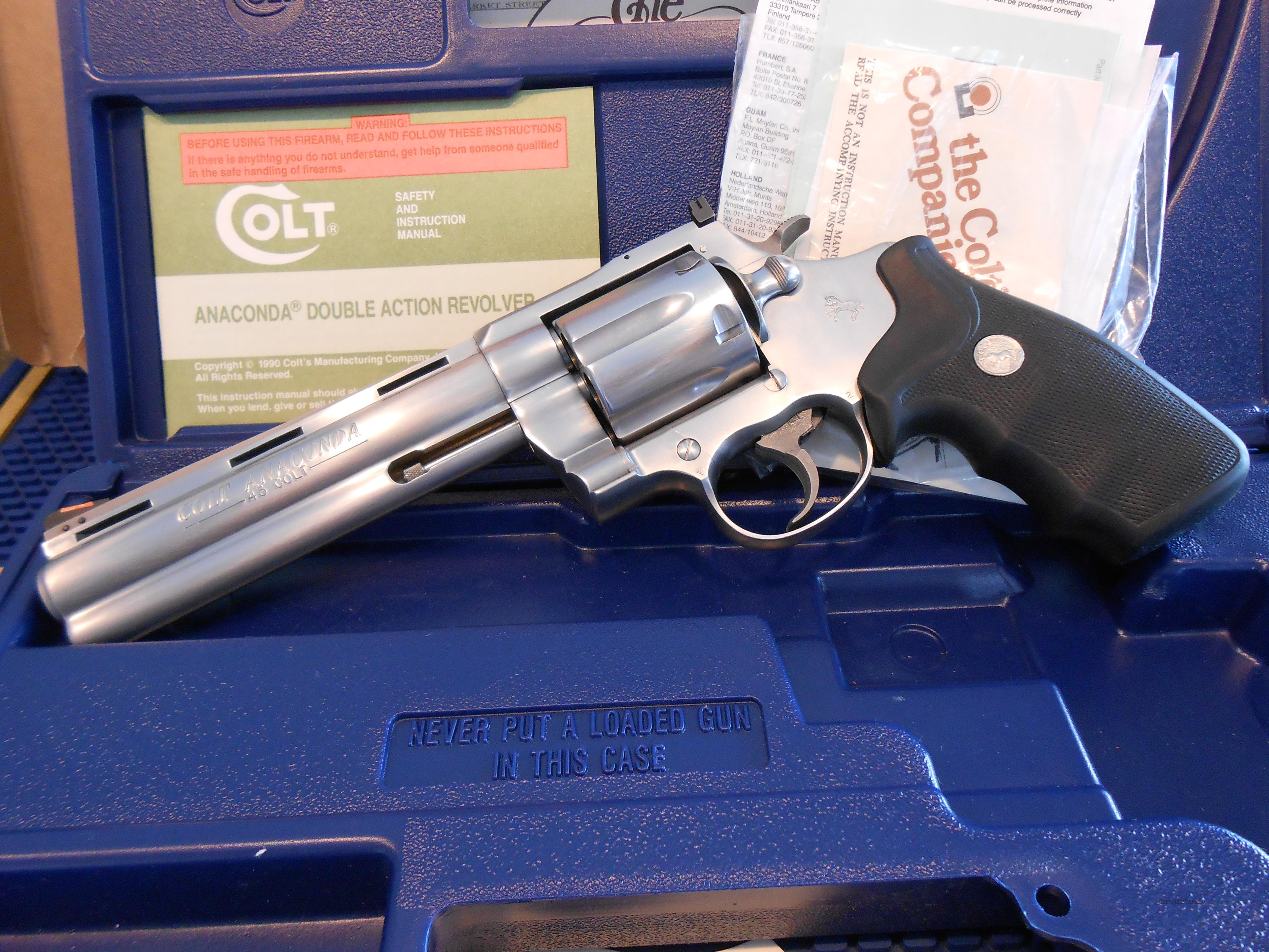 "Colt Anaconda 6""  45 Cal. In Box/Papers.  Guns > Pistols > Colt Double Action Revolvers- Modern"