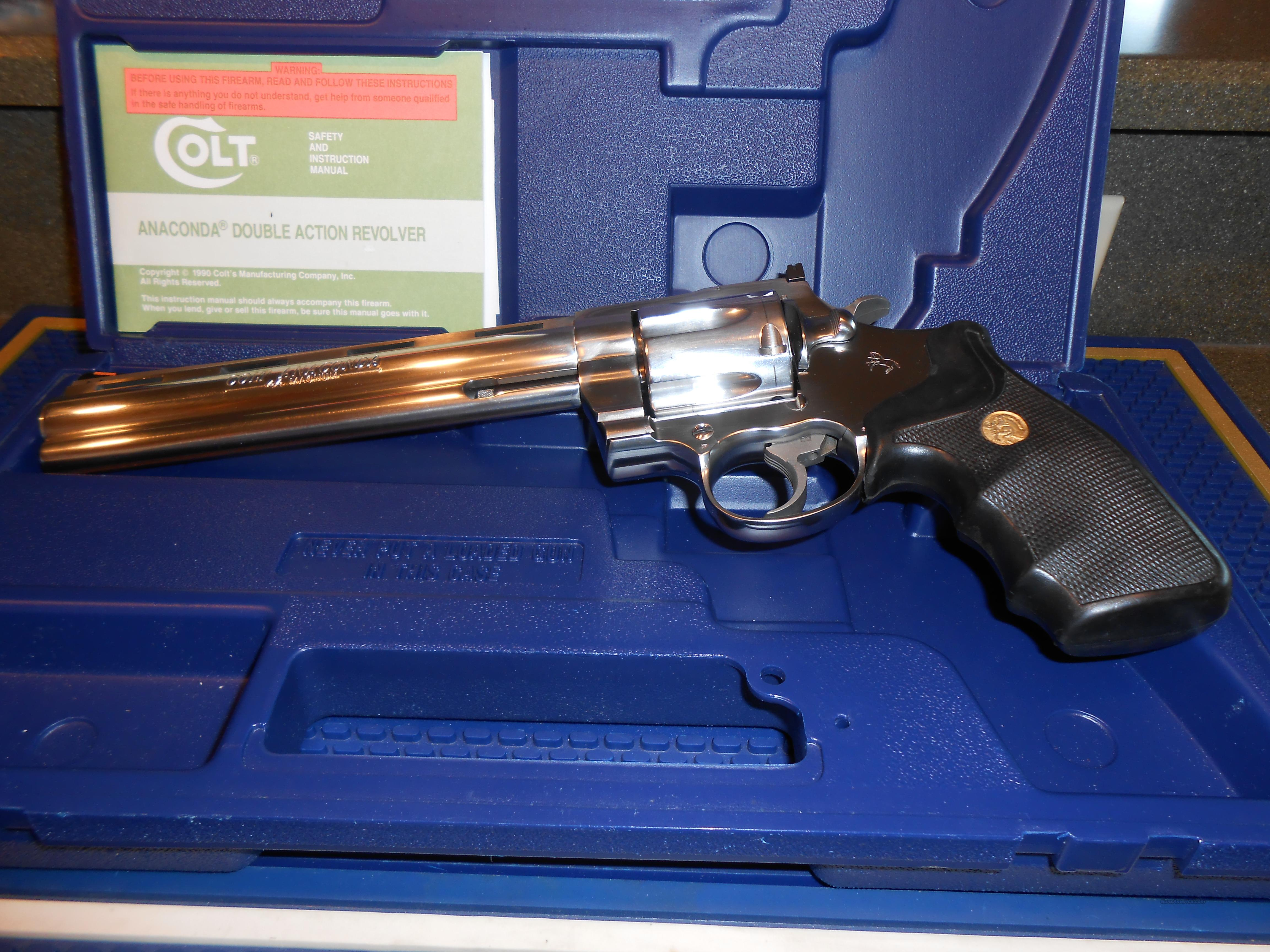"Colt Anaconda Brushed Stainless 8"" Case/Papers  Guns > Pistols > Colt Double Action Revolvers- Modern"