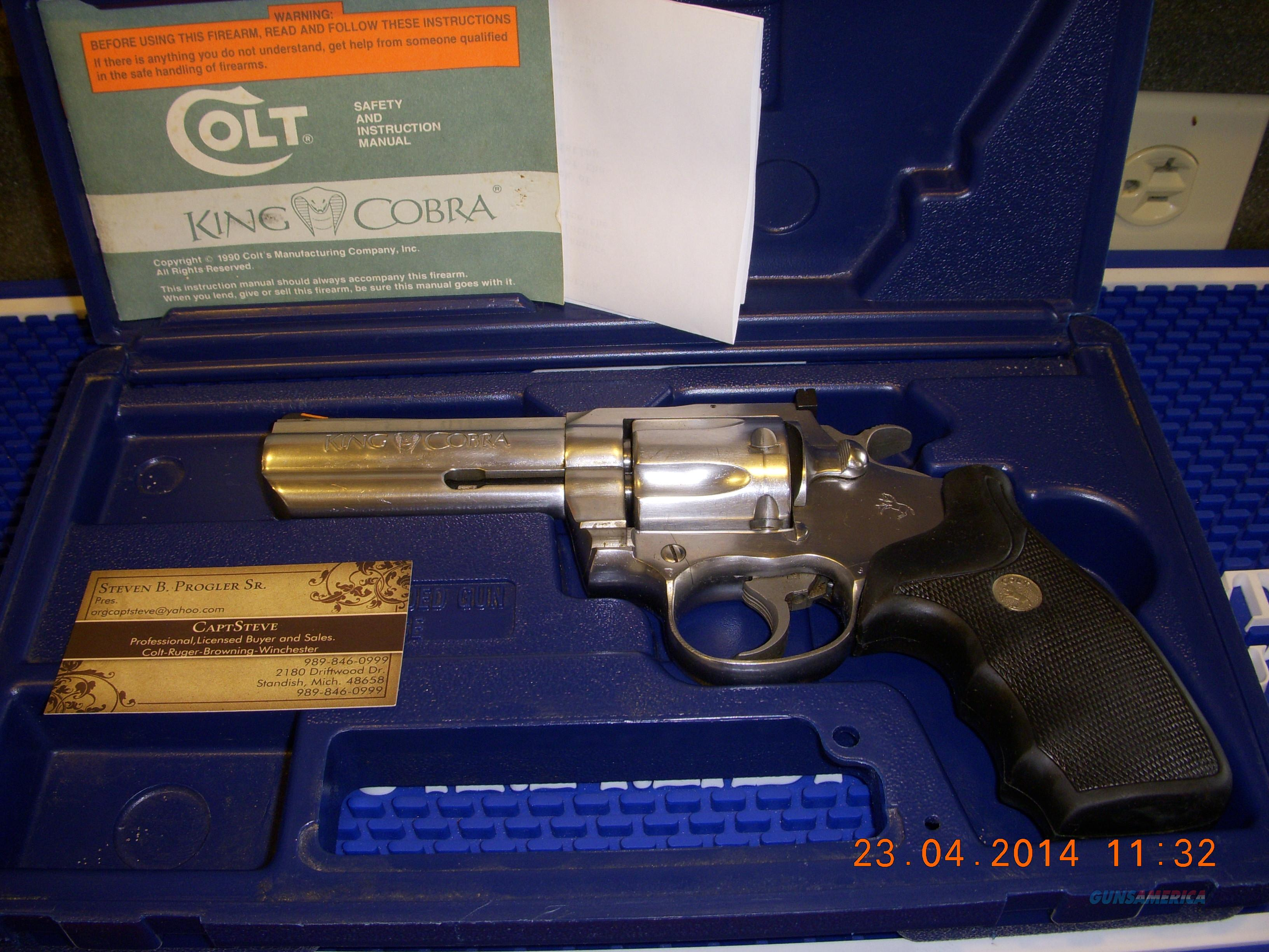 "Colt King Cobra Enhanced 4"" Stainless W/Case  Guns > Pistols > Colt Double Action Revolvers- Modern"