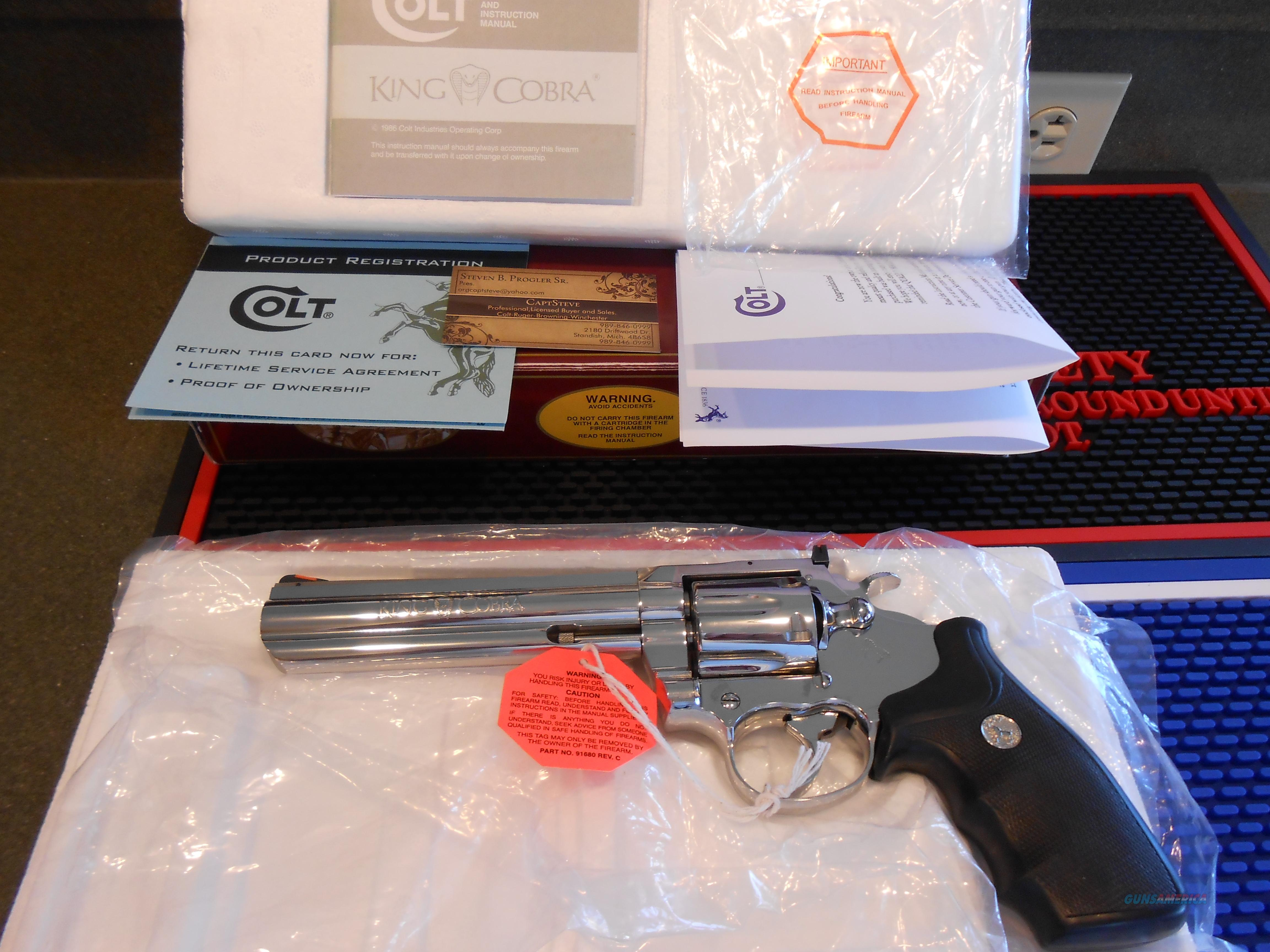 "Colt Bright Stainless 6"" King Cobra Unfired Complete  Guns > Pistols > Colt Double Action Revolvers- Modern"