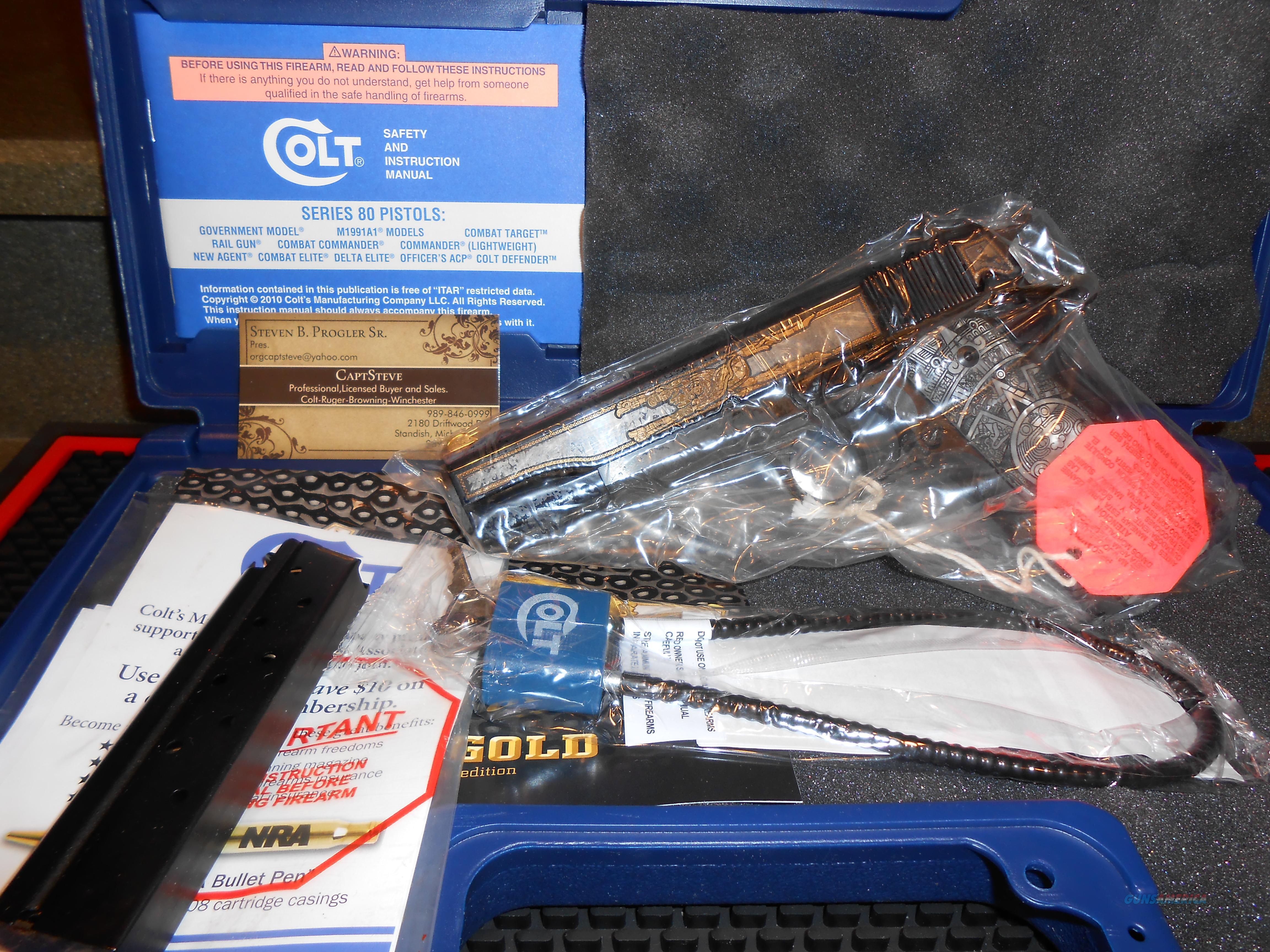 """Colt Aztec """" GOLD """" 38 Super NOS Complete  Guns > Pistols > Colt Automatic Pistols (1911 & Var)"""