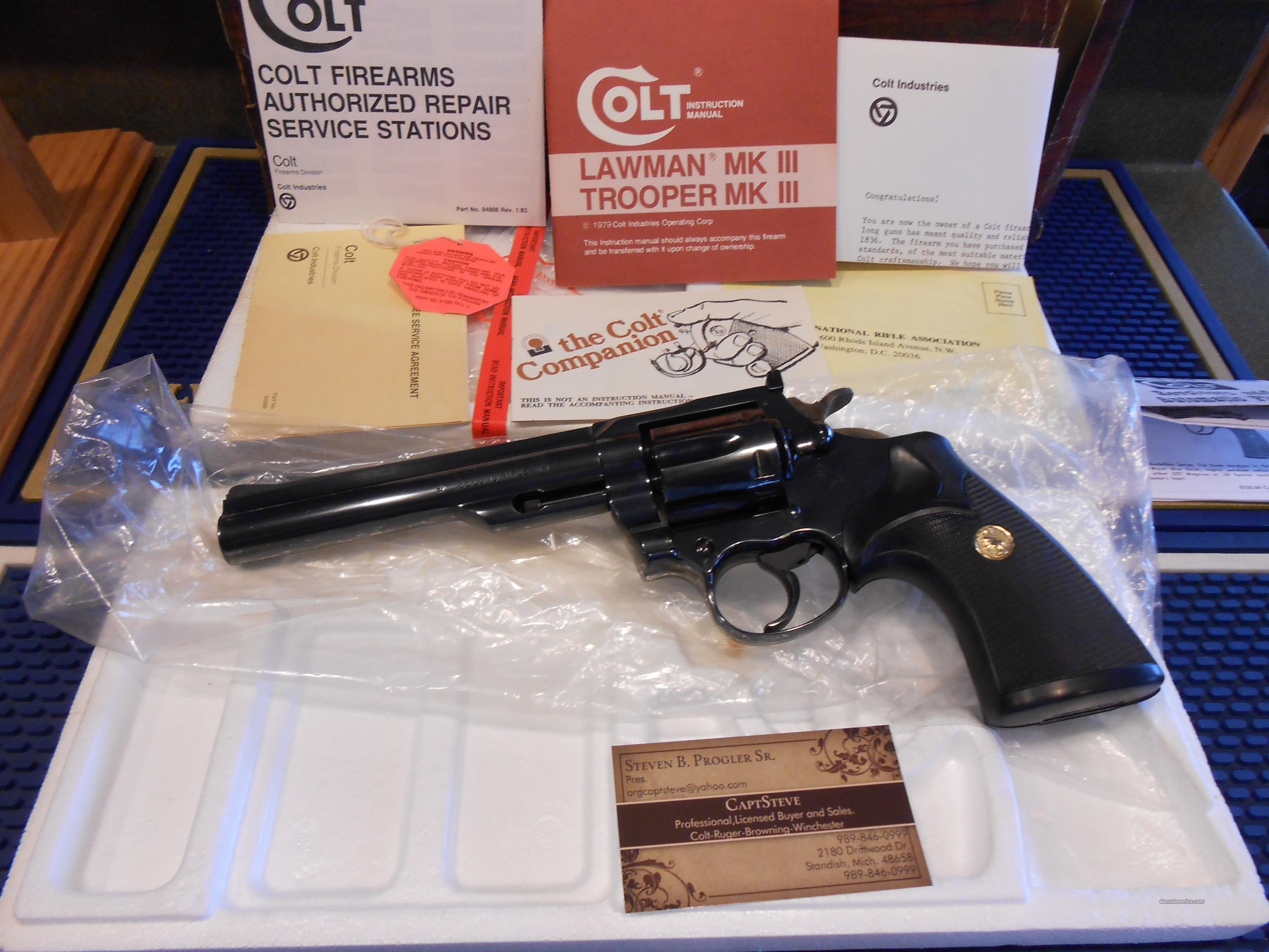 Colt Trooper 22 LR  Mark III Unfired Complete  Guns > Pistols > Colt Double Action Revolvers- Modern