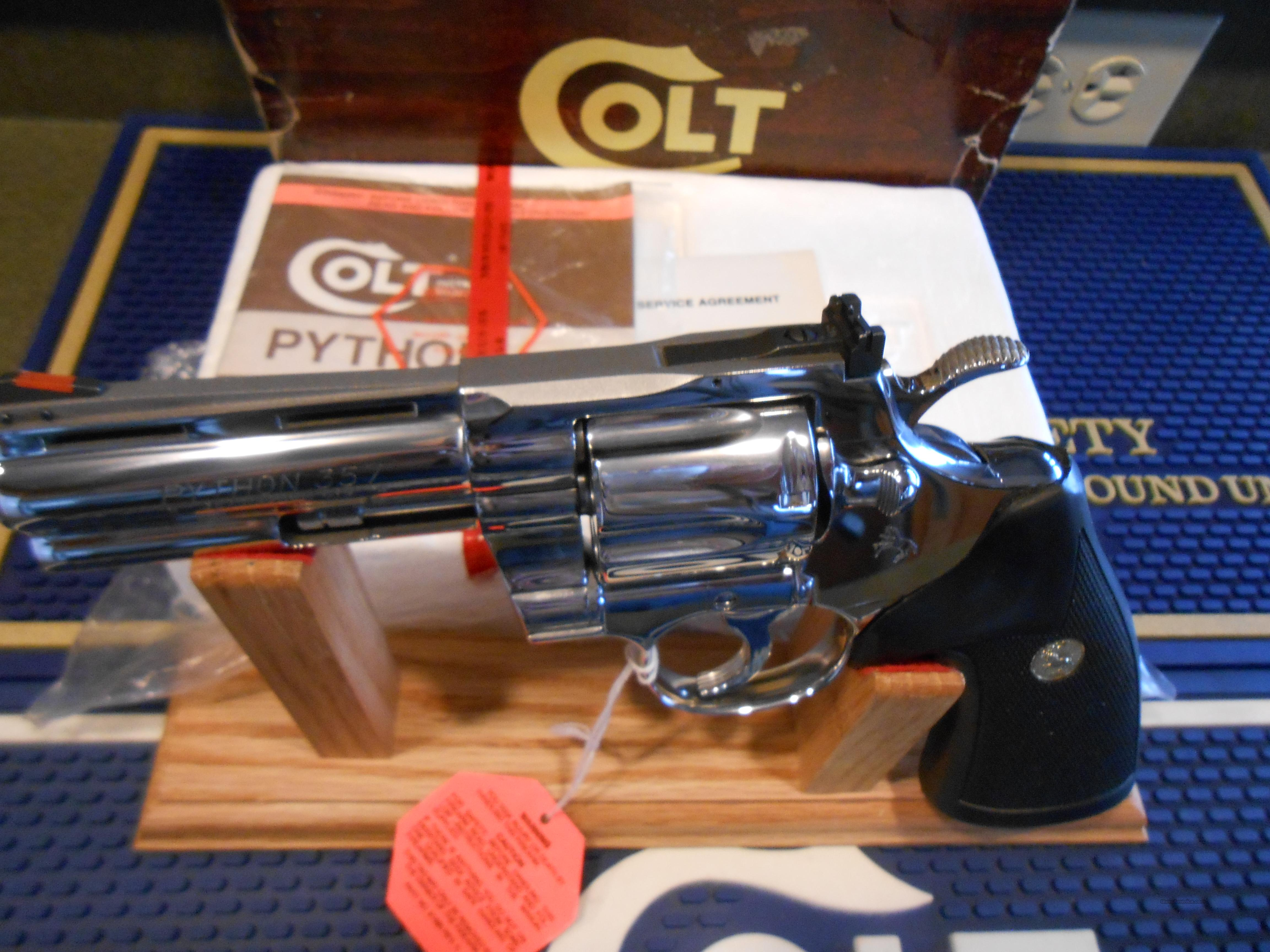 "Unfired 4""Colt Python Bright Stainless Steel  Guns > Pistols > Colt Double Action Revolvers- Modern"
