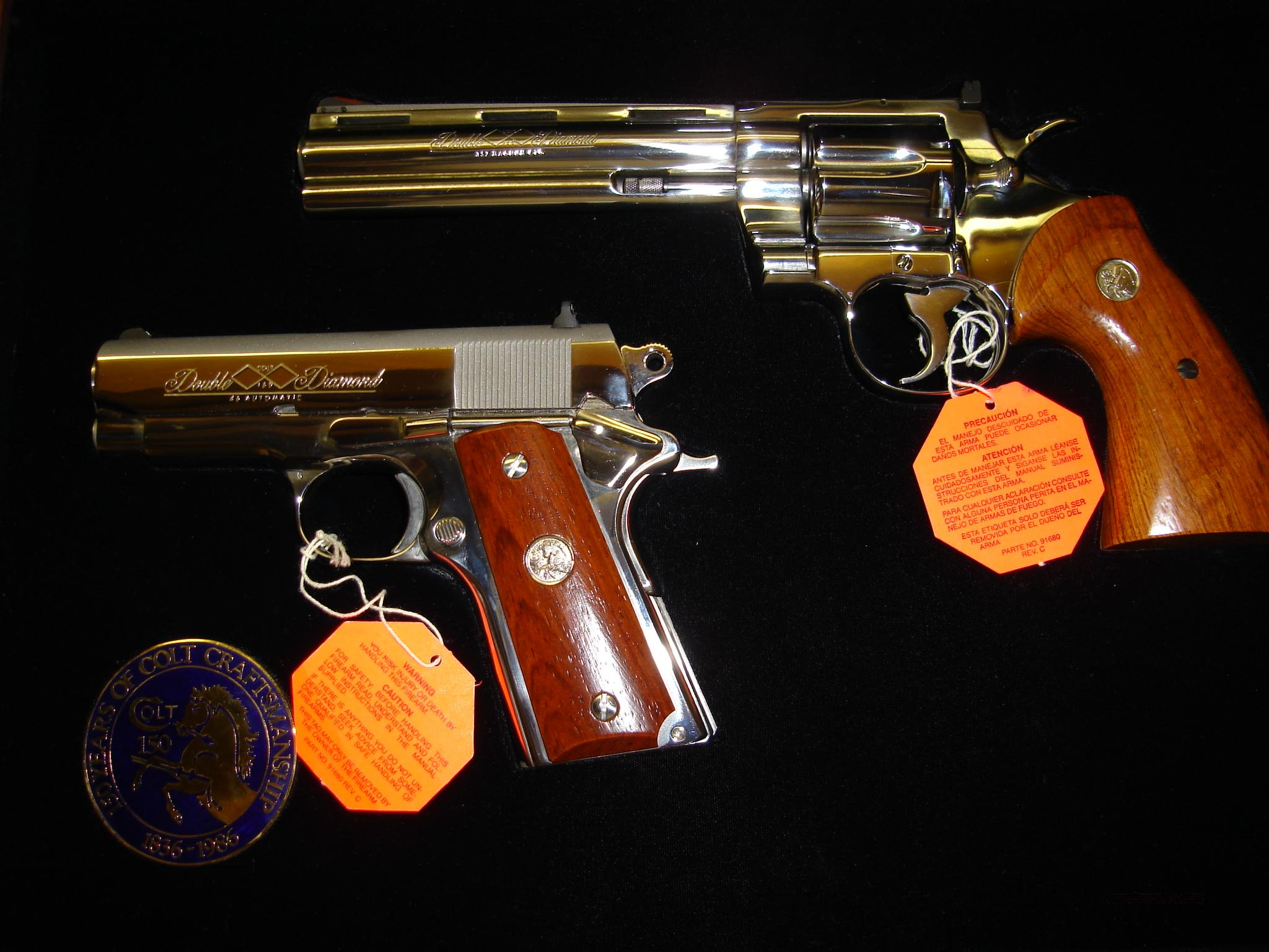 Colt Double Diamond Set - Cust Python.357 - Officer.45  Guns > Pistols > Colt Double Action Revolvers- Modern