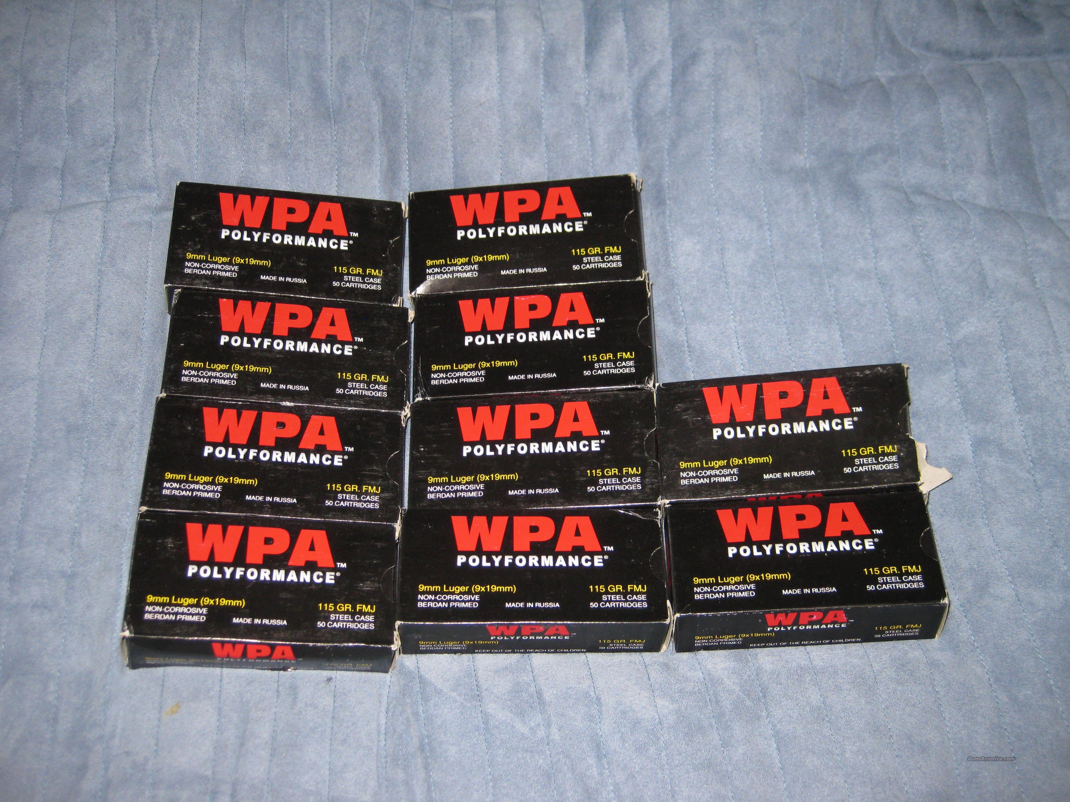 WPA (Wolf) 9mm 115grn FMJ 50rd Boxes (500rds)  Non-Guns > Ammunition