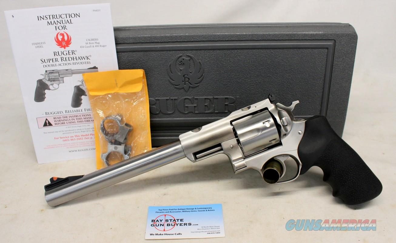 "Ruger SUPER REDHAWK Double Action Revolver ~ .44 Magnum ~ 9.5"" Barrel ~ BOX, MANUAL & SCOPE RINGS  Guns > Pistols > Ruger Double Action Revolver > Redhawk Type"