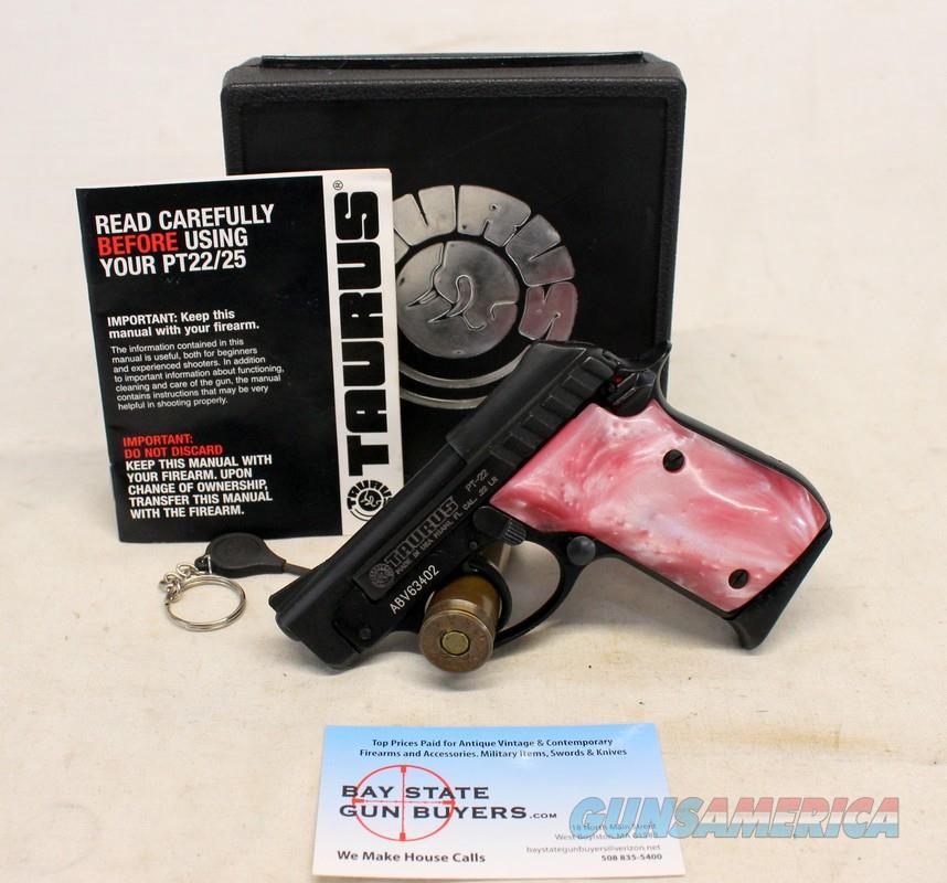 Taurus Model PT-22 semi-automatic pistol ~ TIP OUT BARREL ~ Pink MOP Grips ~ Box & Manual  Guns > Pistols > Taurus Pistols > Semi Auto Pistols > Steel Frame