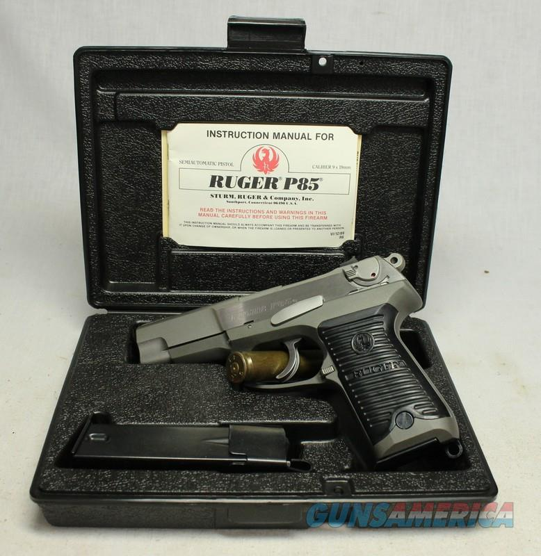 Ruger P85 semi-automatic pistol ~ EXCELLENT STAINLESS EXAMPLE ~ Box, Papers & Extra Mag  Guns > Pistols > Ruger Semi-Auto Pistols > P-Series