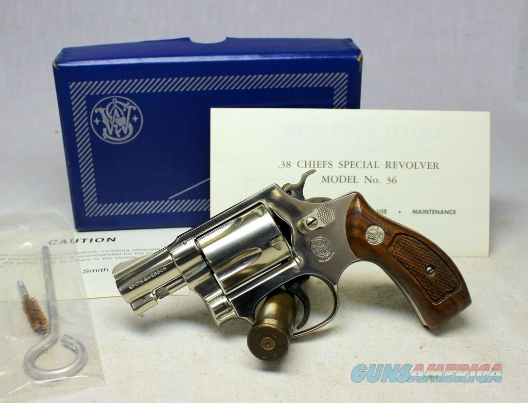 Smith & Wesson Model 36 NICKEL Chiefs Special ~ UNFIRED IN ORIGINAL BOX ~ NO Dash  Guns > Pistols > Smith & Wesson Revolvers > Small Frame ( J )