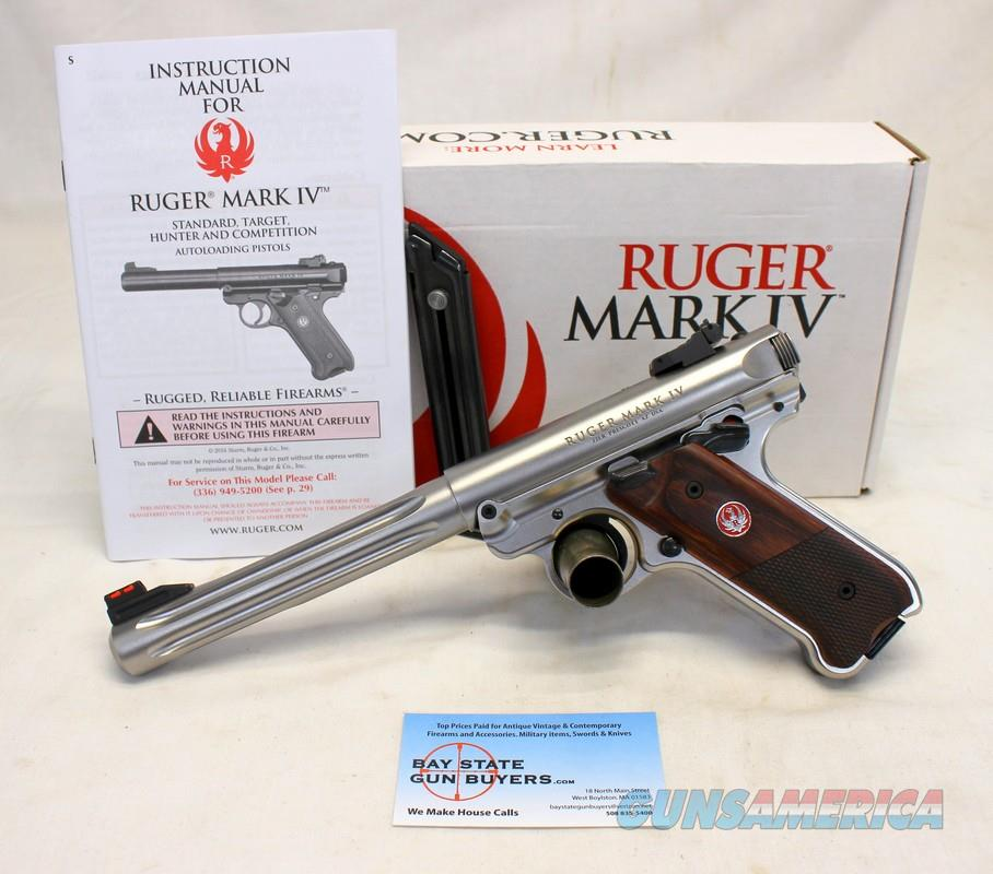 Ruger MKIV HUNTER semi-automatic pistol ~ Target .22LR ~ Box Manual (2) Magazines  Guns > Pistols > Ruger Semi-Auto Pistols > Mark I/II/III/IV Family