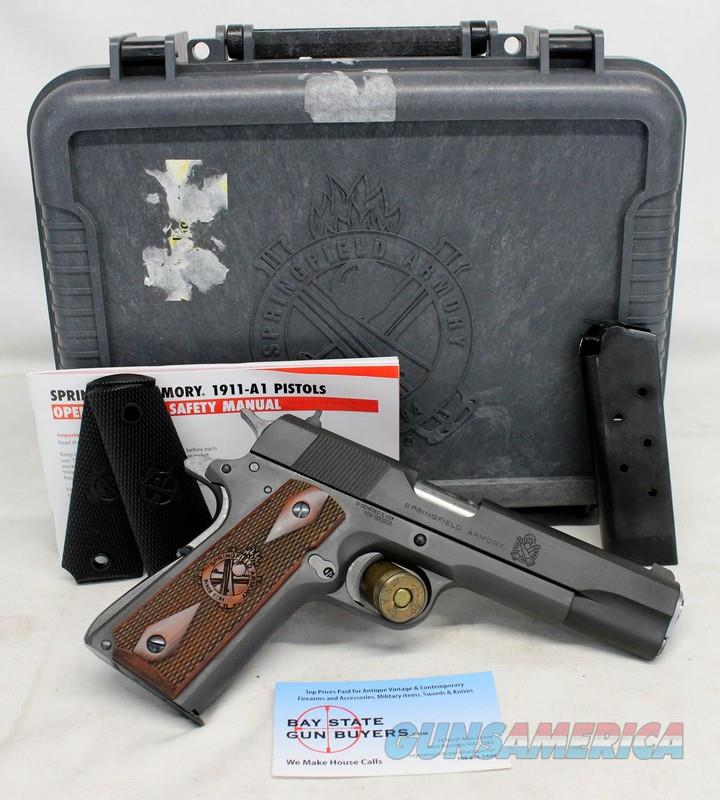 "Springfield Armory 1911 MIL SPEC semi-automatic pistol ~ .45ACP ~ 5"" Barrel ~ Box, Manual, Extra Grips & (2)10rd magazines.  Guns > Pistols > Springfield Armory Pistols > 1911 Type"