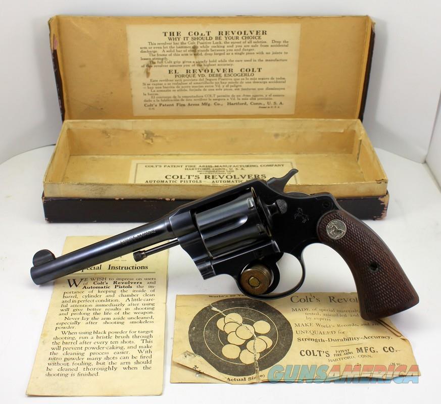 "Colt POLICE POSITIVE Revolver ~ .38 Spl. ~ 5"" Barrel ~ 1928 Mfg. ~ ORIGINAL BOX  Guns > Pistols > Colt Double Action Revolvers- Pre-1945"