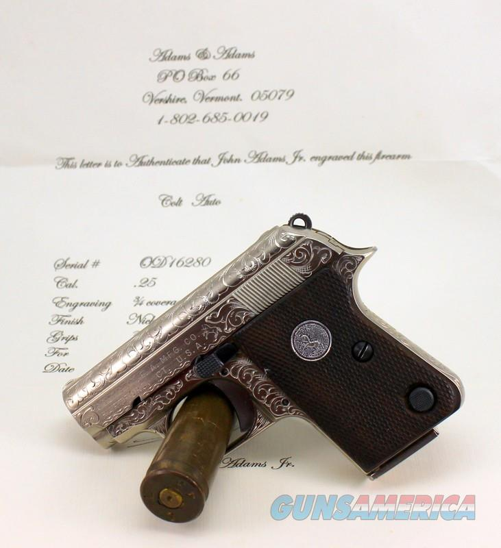 Colt Automatic 1908 Pistol ~ .25acp ~ ENGRAVED BY JOHN ADAMS, Jr.  Guns > Pistols > Colt Automatic Pistols (.25, .32, & .380 cal)