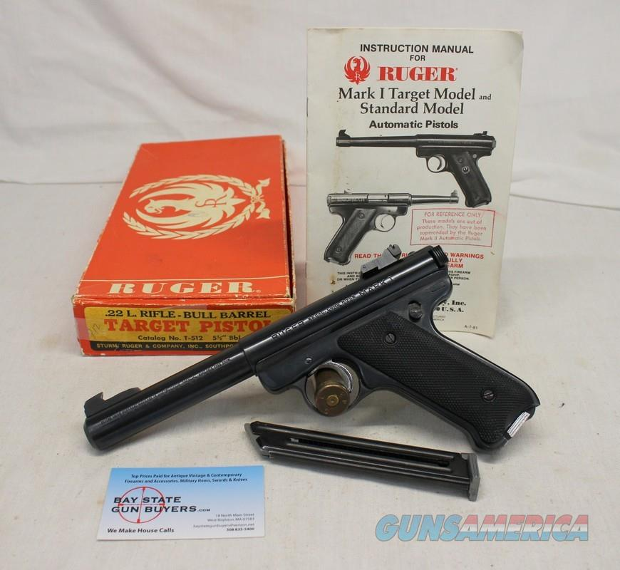 "Ruger Mark I semi-automatic pistol ~ .22LR ~ 5.5"" BULL BARREL ~ Box & Manual ~ 1981Mfg.  Guns > Pistols > Ruger Semi-Auto Pistols > Mark I/II/III/IV Family"