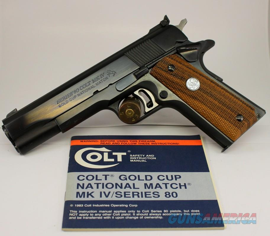 Colt Series 80 MkIV GOLD CUP NATIONAL MATCH semi-automatic pistol .45acp ~ ORIGINAL MANUAL INCLUDED  Guns > Pistols > Colt Automatic Pistols (1911 & Var)