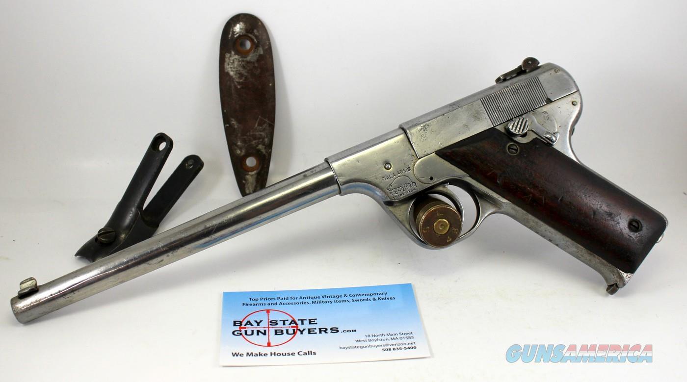 scarce FIALA Model 1920 pistol ~ .22LR ~ NICKEL ~ Butt Stock Bracket & Buttplate Included  Guns > Pistols > F Misc Pistols