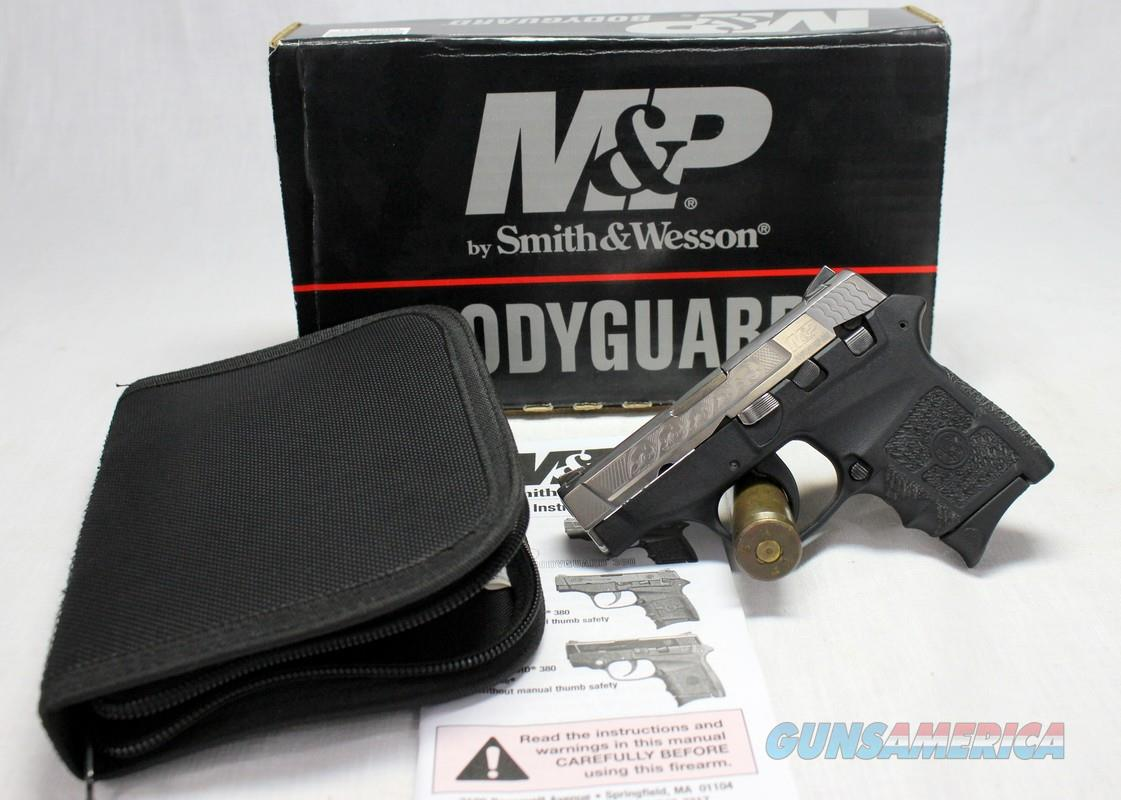 Smith & Wesson BODYGUARD 380 semi-automatic pistol ~ .380ACP ~ TWO TONE ~ ENGRAVED ~ Box, Extra Mag & Manual  Guns > Pistols > Smith & Wesson Pistols - Autos > Polymer Frame