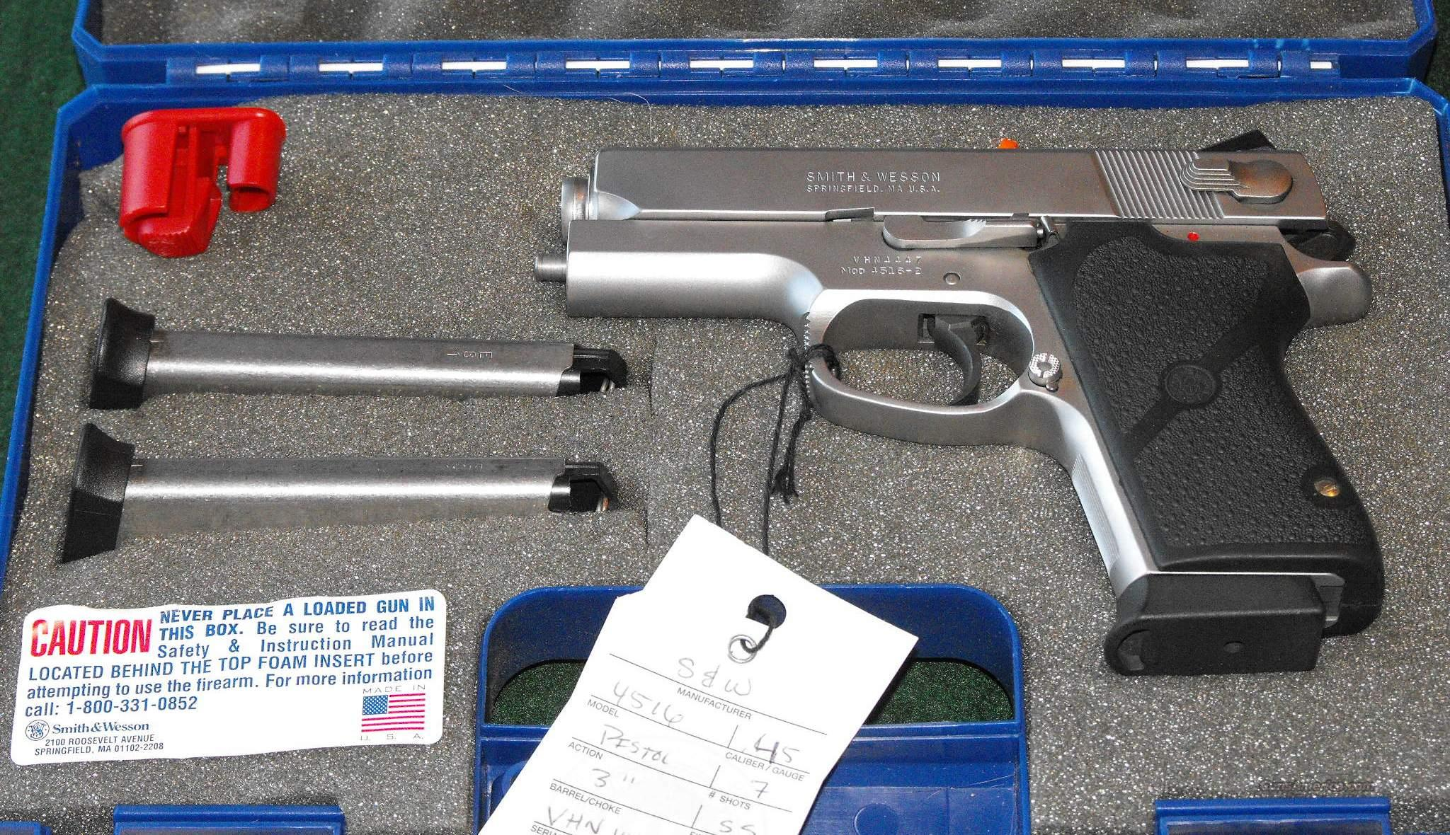 S&W 4516 Stanless Steel Frame Full Size .45ACP   Guns > Pistols > Smith & Wesson Pistols - Autos > Steel Frame