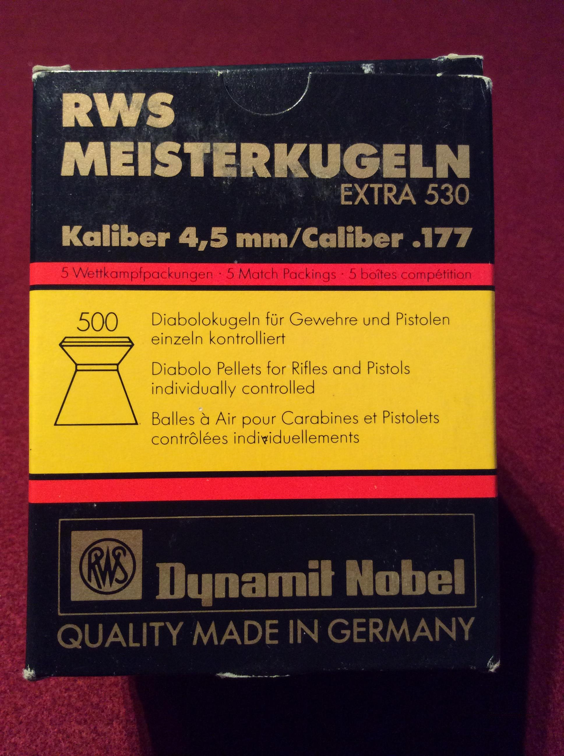 RWS Meisterkugeln .177 Competition Pellets Box of 500  Non-Guns > Air Rifles - Pistols > Other