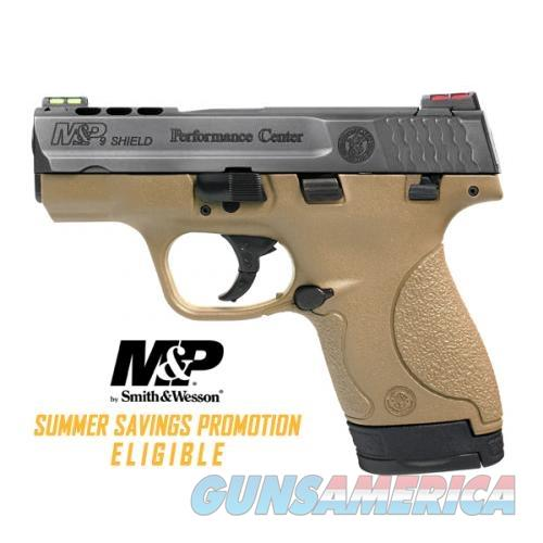 "FDE Smith & Wesson, M&P Shield, Performance Center, Semi-automatic, Striker Fired, Compact, 9MM, 3.1"" Ported Barrel, Polymer Frame, HiViz Sights, 7 & 8Rd, 2 Magazines  Guns > Pistols > Smith & Wesson Pistols - Autos > Shield"