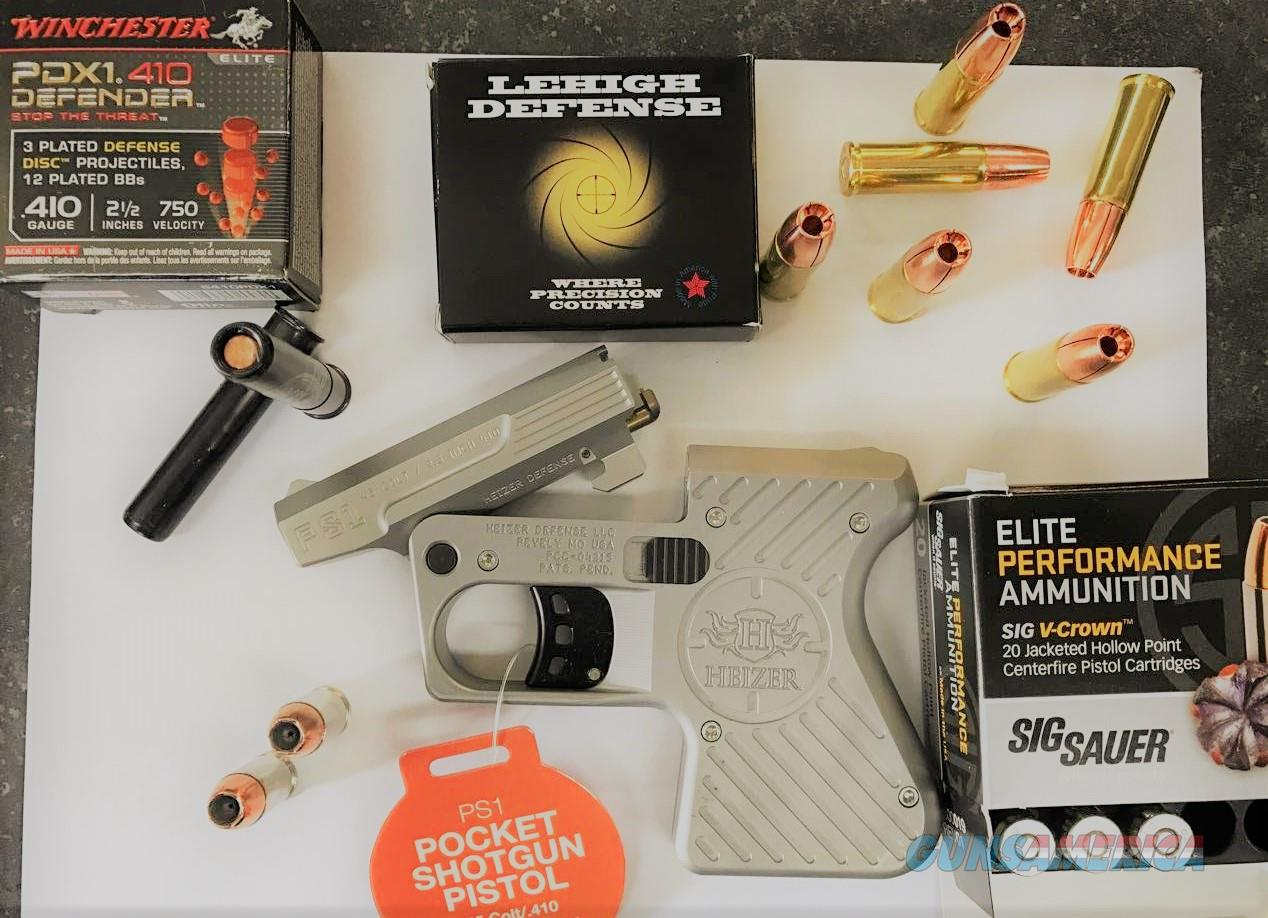 Heizer 100% USA MADE 45/410 Stainless Pocket Pistol With 3 Boxes of Premium Ammunition.    Guns > Pistols > Derringer Modern