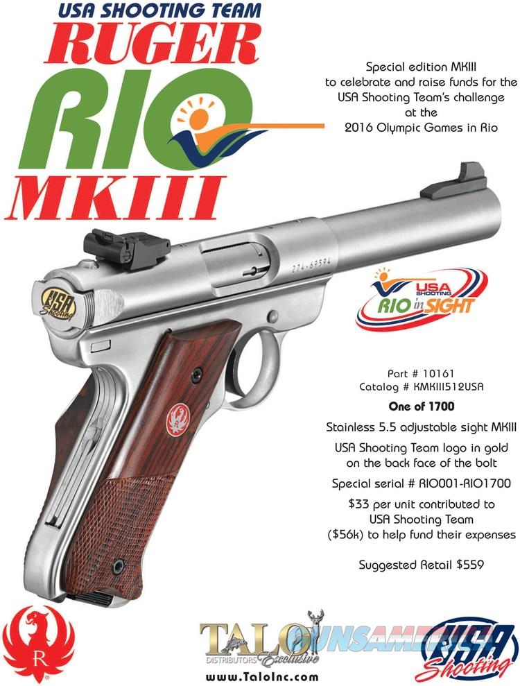 Ruger USA Shooting Team MKIII RIO 1 of 1700 Pistol  Guns > Pistols > Ruger Semi-Auto Pistols > Mark I/II/III/IV Family