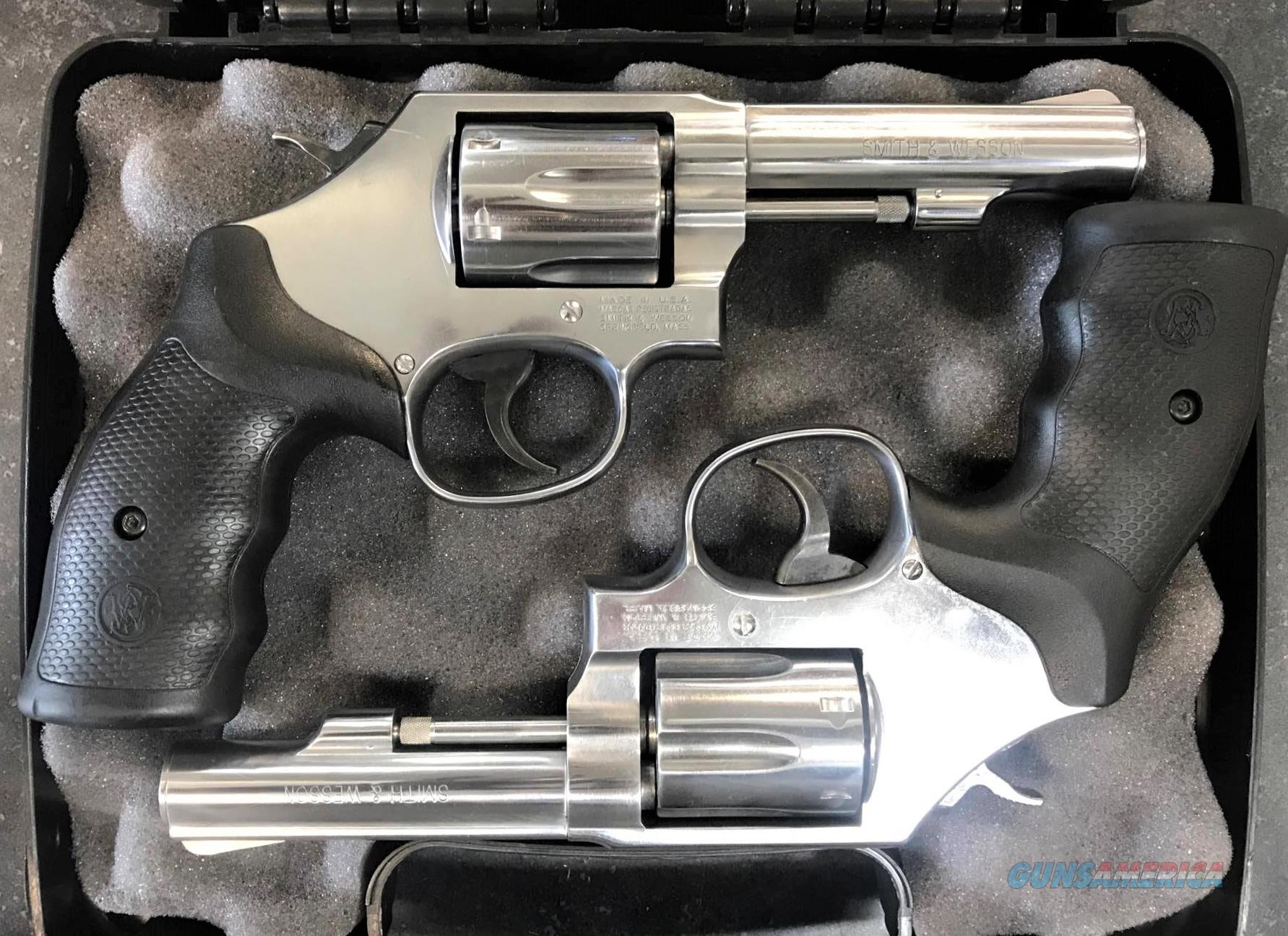 Matched Pair of Smith & Wesson 64-8 Heavy Barrel 38+P 6 Shot Stainless Revolvers  Guns > Pistols > Smith & Wesson Revolvers > Med. Frame ( K/L )