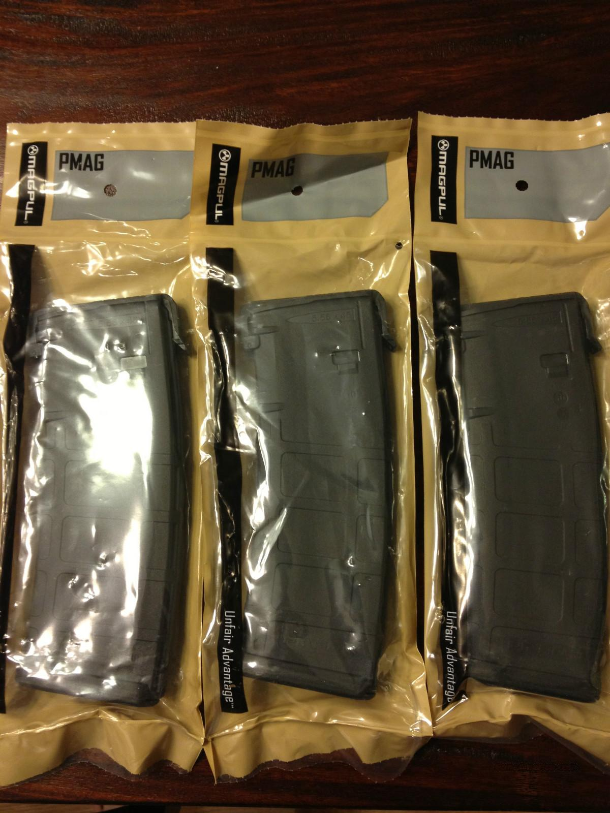 3 Magpul PMAGs - Black - NEW - 30 Round  - AR15 / M16 Magazine - AR-15 Mags  Non-Guns > Magazines & Clips > Rifle Magazines > AR-15 Type