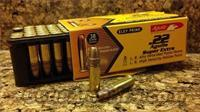 3000 rds 22 lr Ammo Aguila 38gn SUPER EXTRA High Velosity  -  Bullet Style: Plated Lead Hollow Point  -  Ballistics Information:  Muzzle Velocity: 1280 fps Muzzle Energy: 131 ft. lbs.  Ammunition