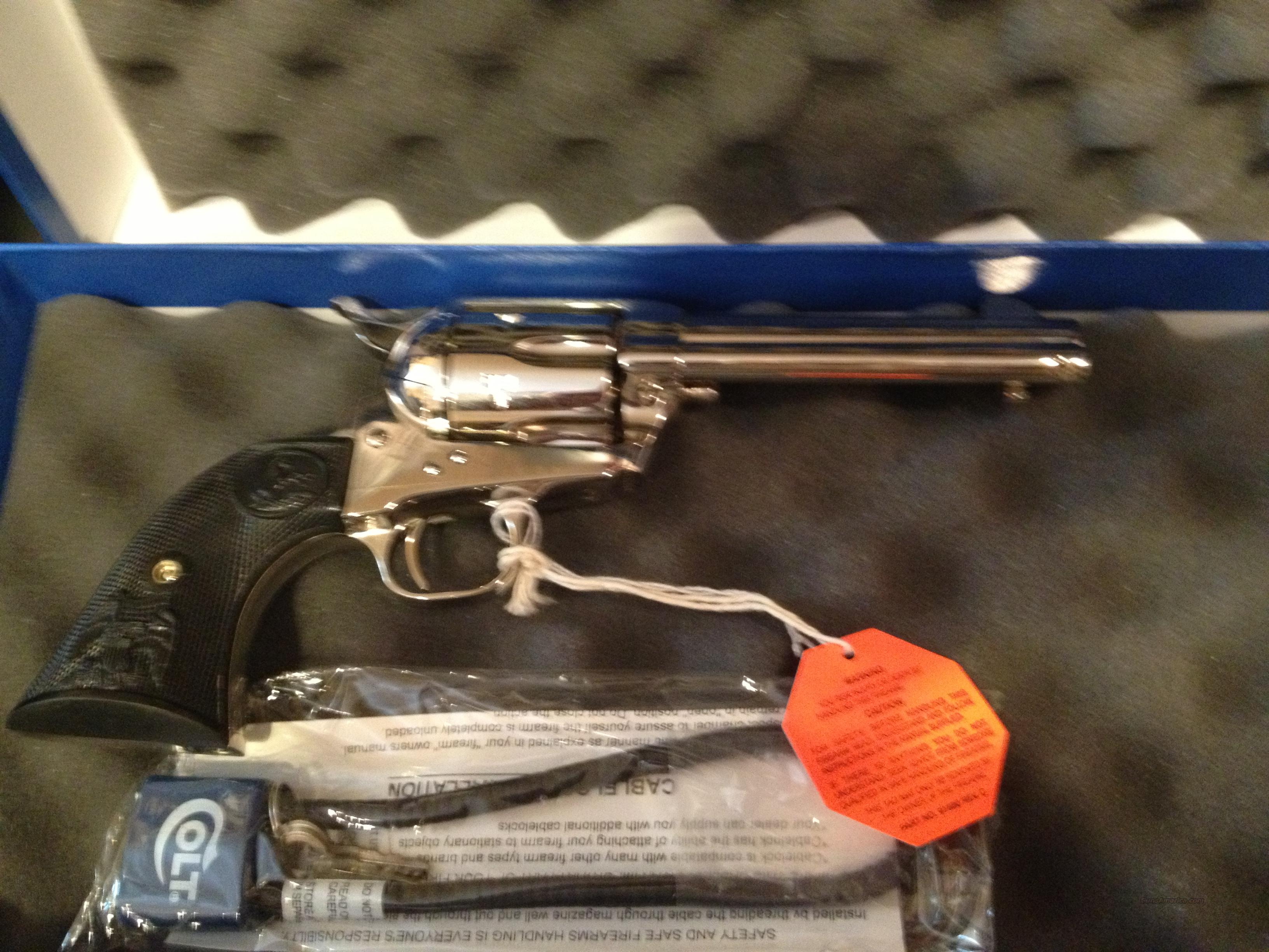 Colt army 45 cal.nickel plated six gun  Guns > Pistols > Colt Single Action Revolvers - 3rd Gen.