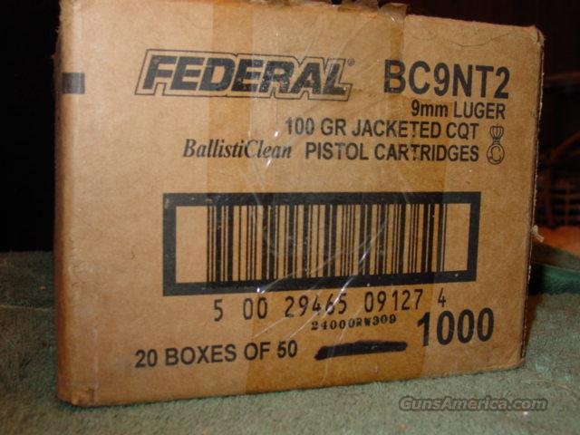 9mm Federal BallisitClean 100gr Jacketed CQT  1000 rds  Non-Guns > Ammunition