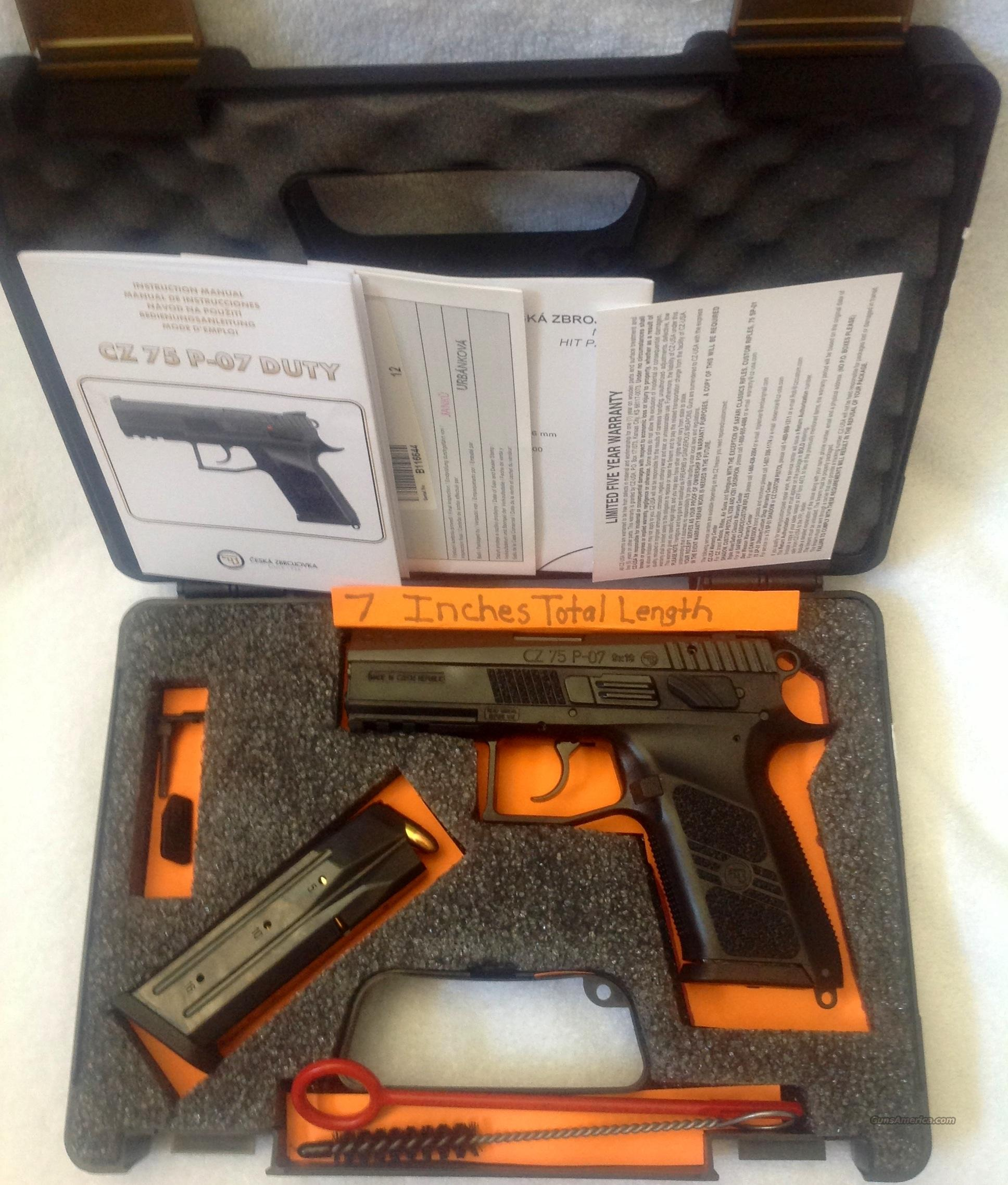 CZ P-07 Like New In Box HIGH CAPACITY LOW RECOIL ACCURACY ACCURACY ACCURACY.   Guns > Pistols > CZ Pistols