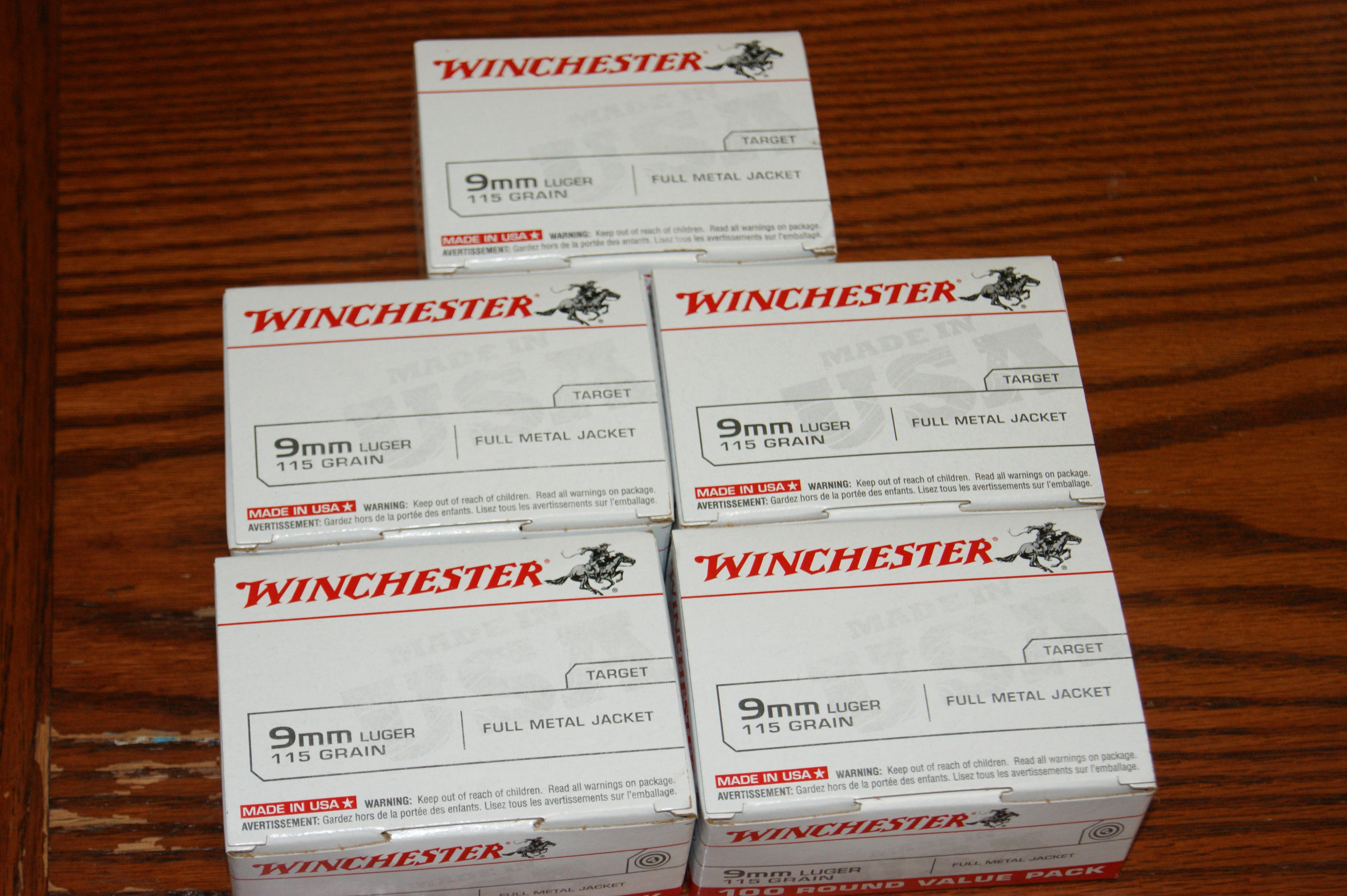 winchester 9mm 500rds 115rg fmj  Non-Guns > Ammunition