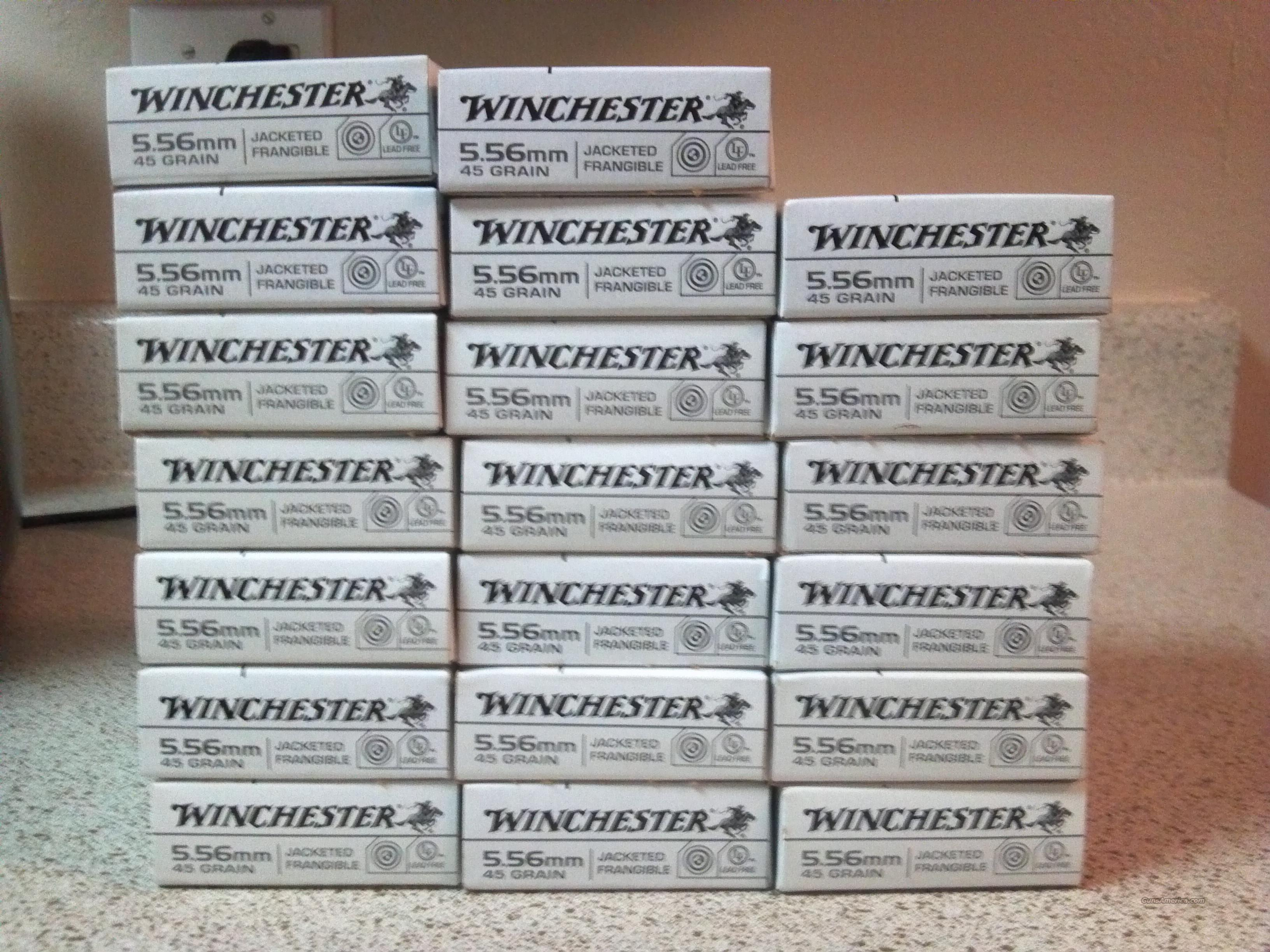 5.56 Winchester Ammunition (400 rounds) Jacketed Frangible, 45 grain  Non-Guns > Ammunition
