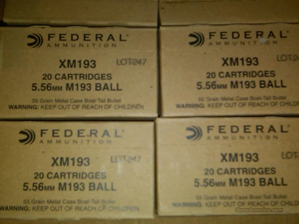 500 Rounds of Federal XM193 5.56 223 Free ship  Non-Guns > Ammunition