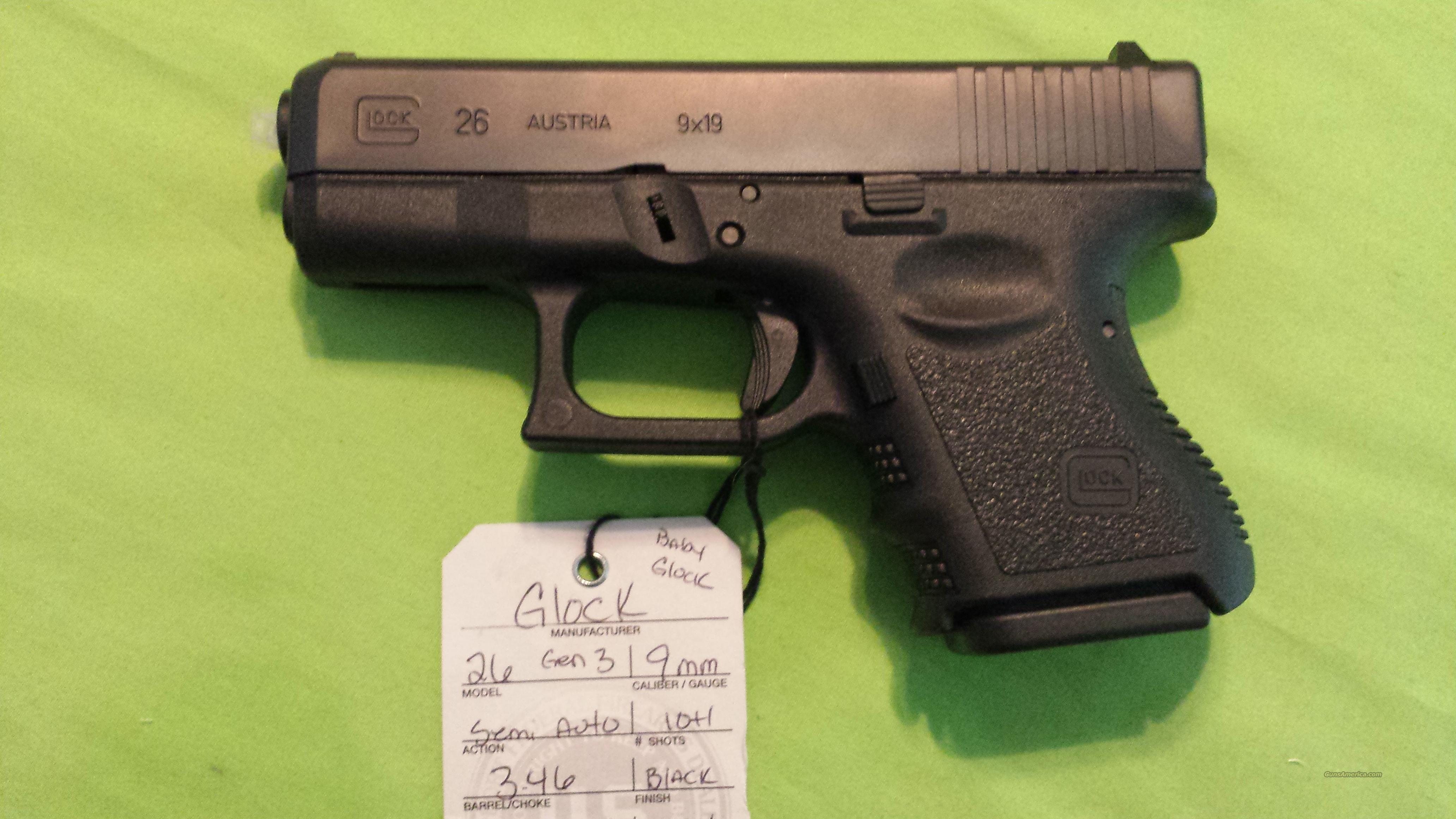 Glock 26 Quot Baby Glock Quot 9mm Subcompact Black 10 1 For Sale