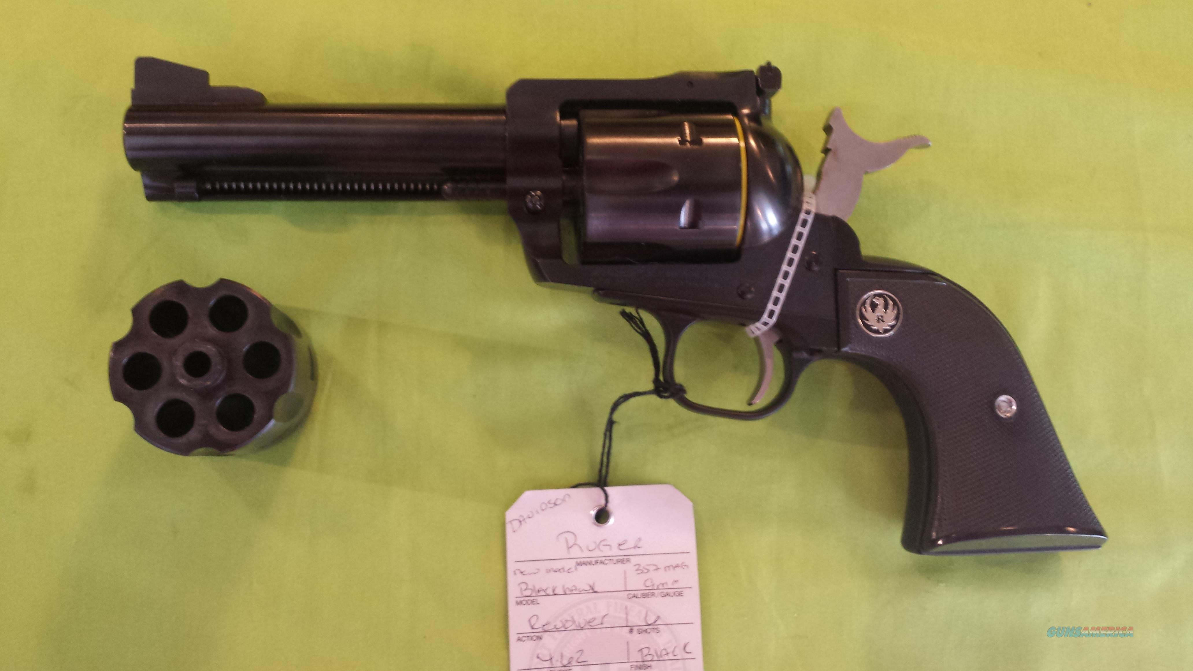 RUGER BLAKHAWK 357 MAG 9 MM 4.62 (2) CYLINDER CONVERTIBLE 0308   Guns > Pistols > Ruger Single Action Revolvers > Blackhawk Type