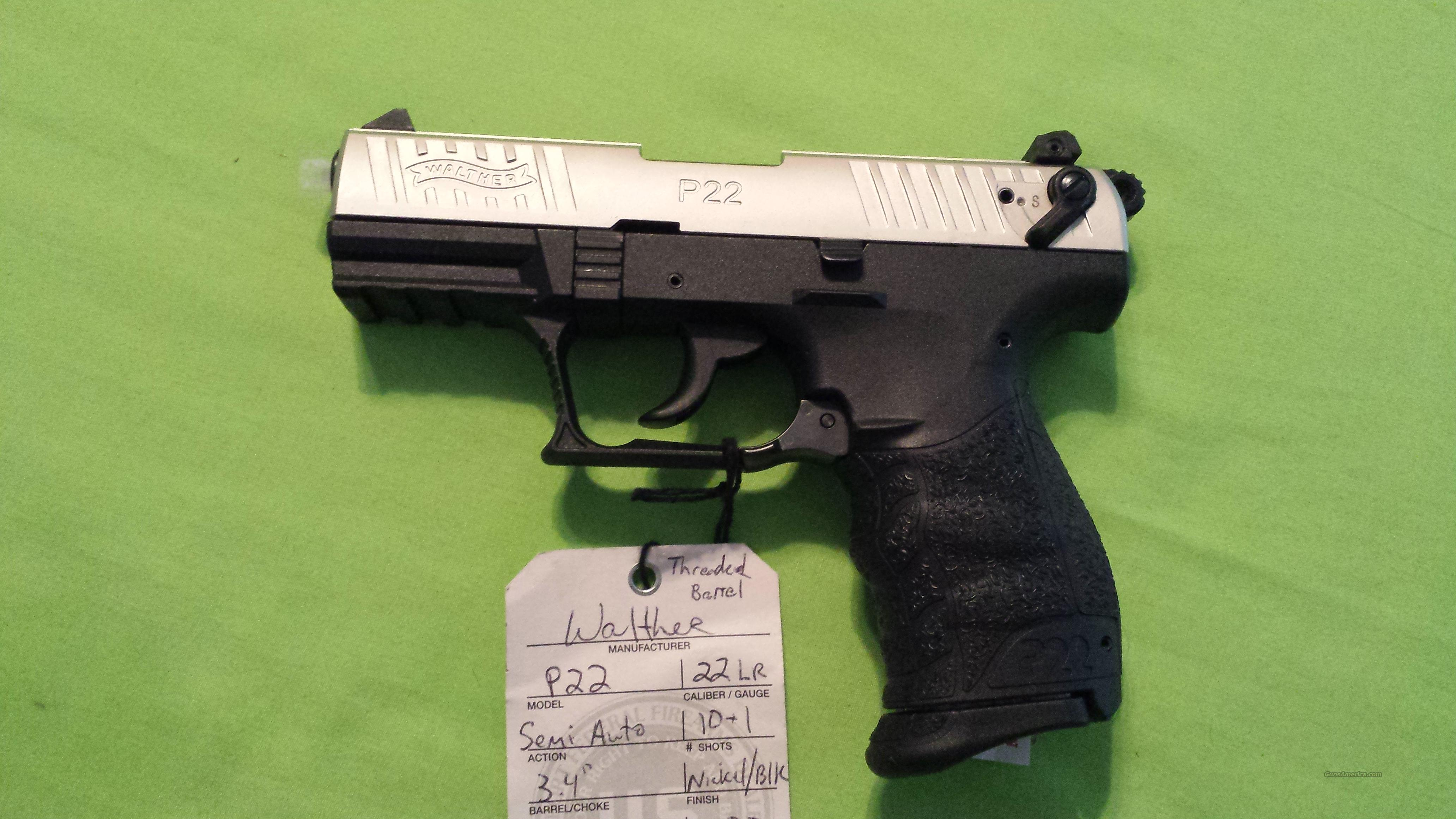 "WALTHER P22 22LR 3.4"" NICKEL / BLK 10RD THREADED   Guns > Pistols > Walther Pistols > Post WWII > P22"