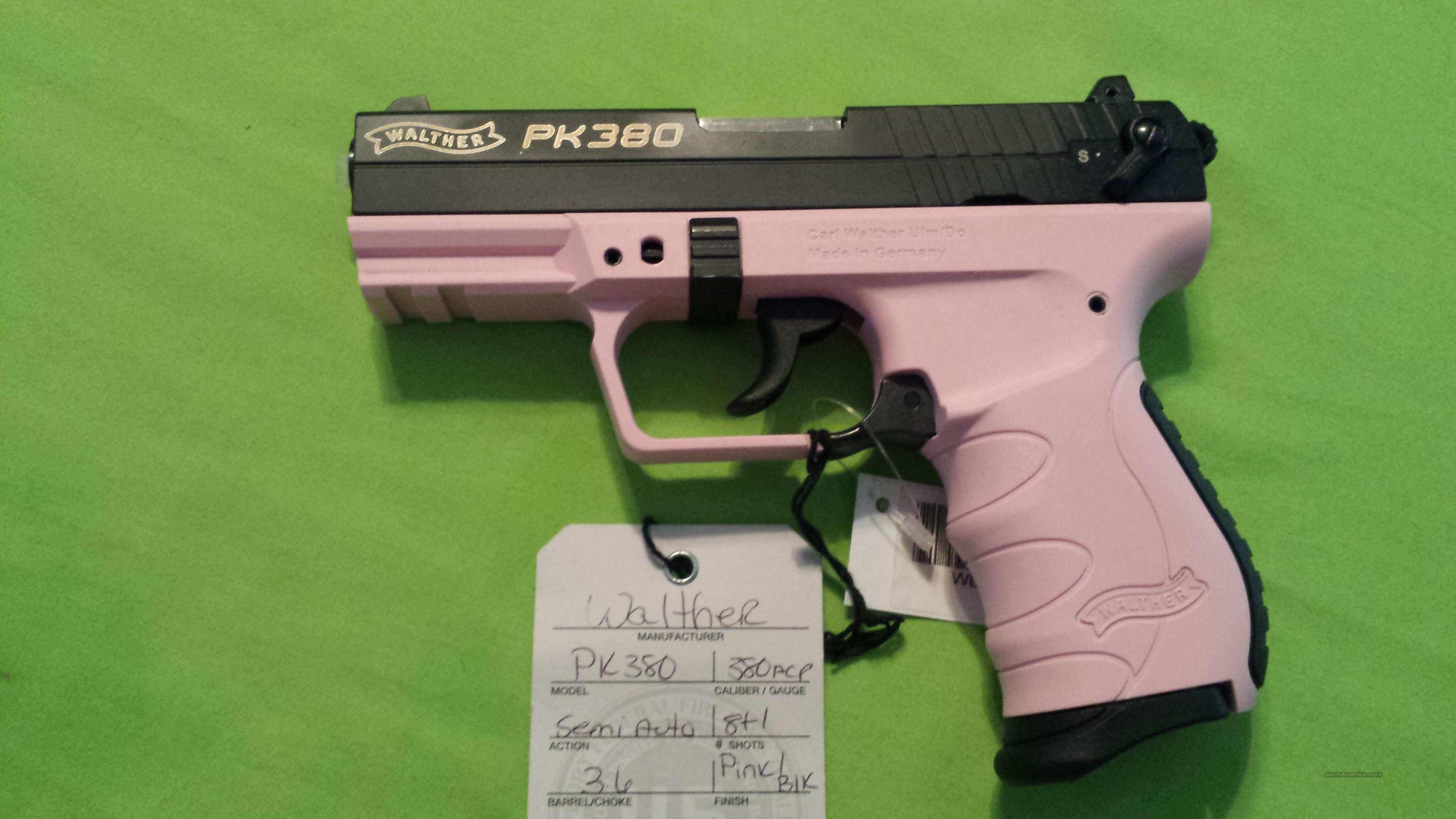 "WALTHER PK380 PK 380 380ACP 3.6"" PINK / BLACK 8+1  Guns > Pistols > Walther Pistols > Post WWII > PK380"