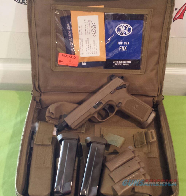 FN FNX .45 Tactical FDE 45 ACP THREADED BARREL 3 MAGS  Guns > Pistols > FNH - Fabrique Nationale (FN) Pistols > FNX