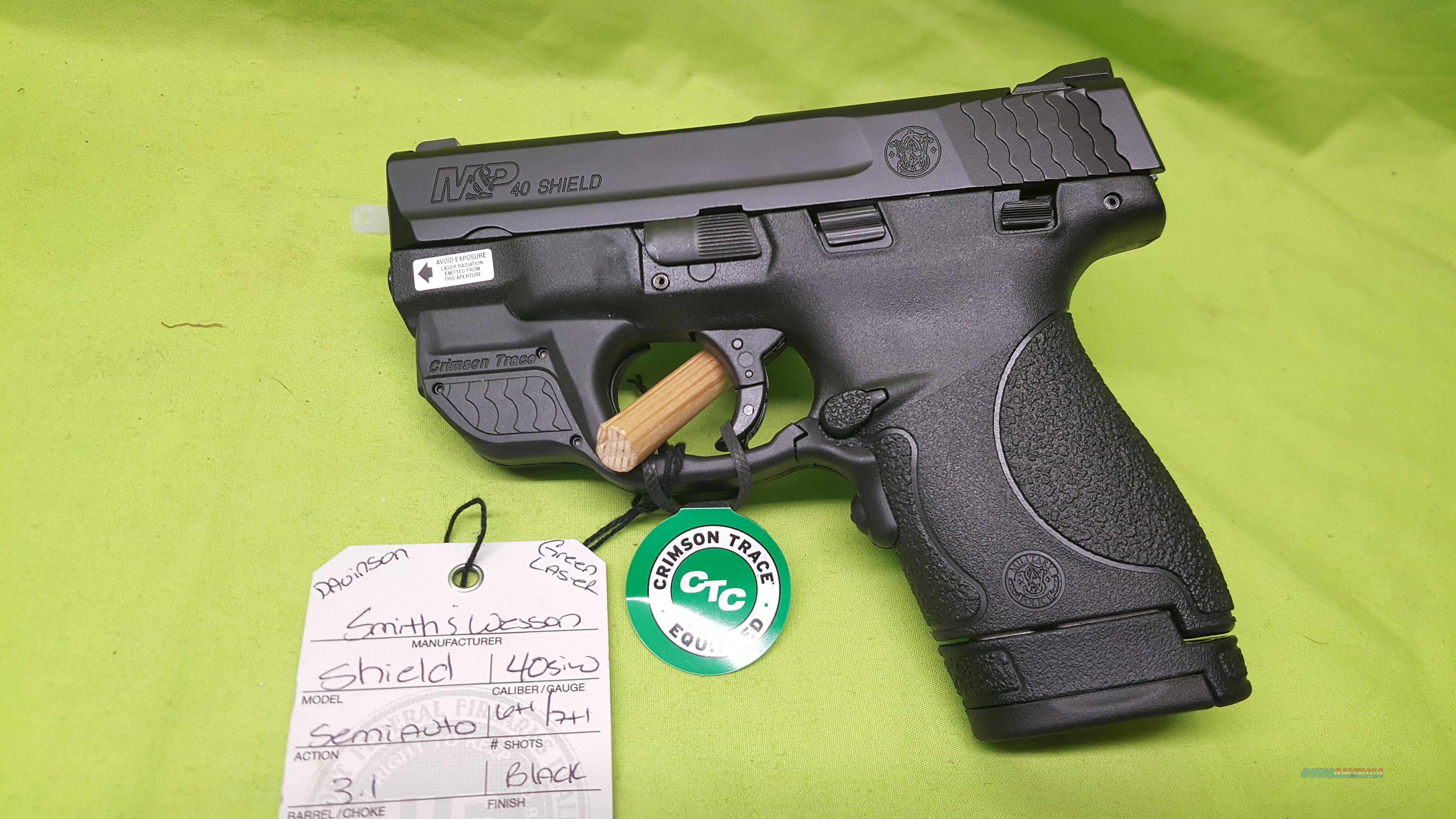 SMITH & WESSON M&P 40 SHIELD 40S&W GREEN LASER  Guns > Pistols > Smith & Wesson Pistols - Autos > Shield