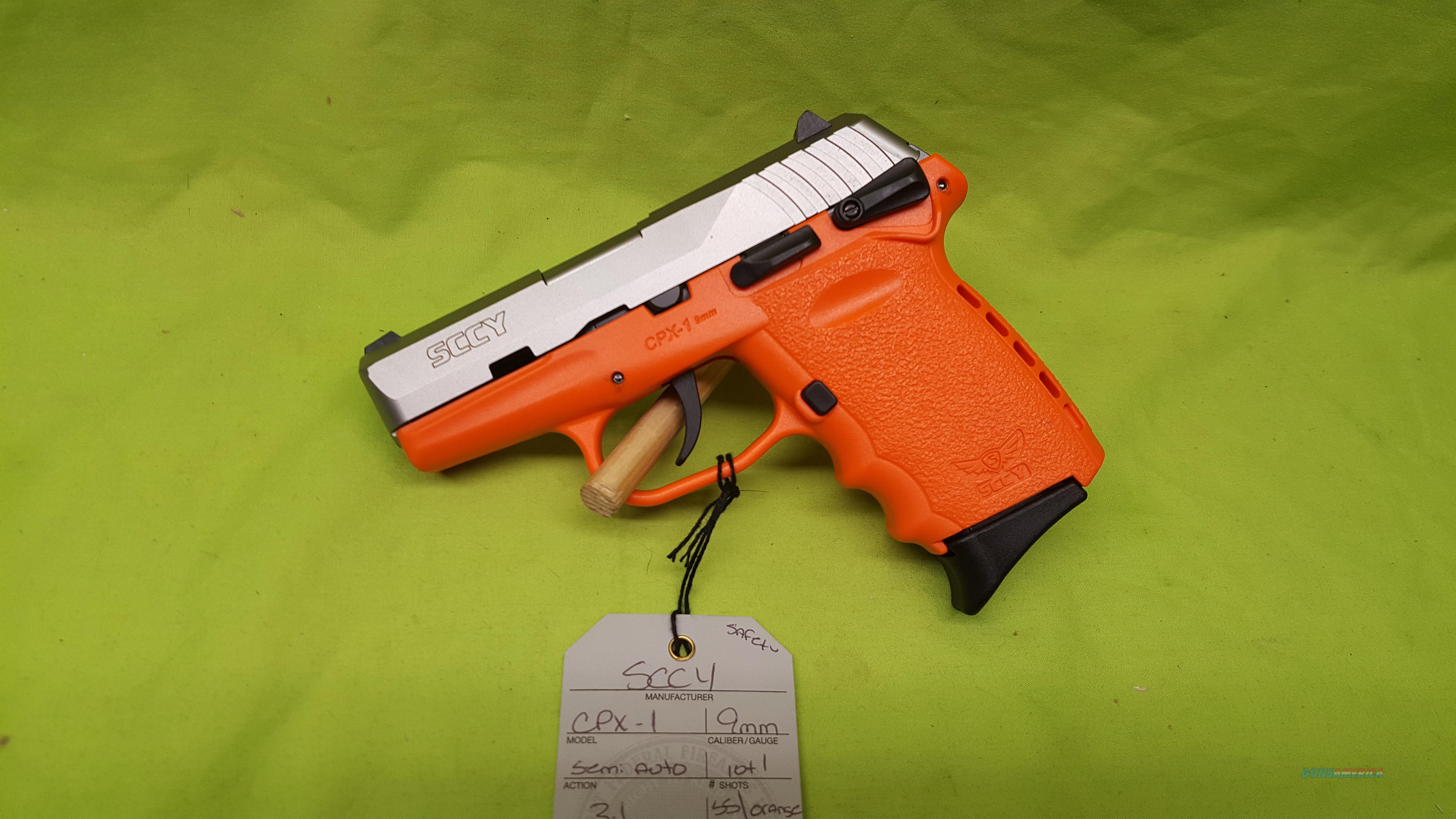 "SCCY CPX-1 CPX 1 CPX1 9 9MM 10RD SS / ORANGE 3.1"" SAFETY  Guns > Pistols > SCCY Pistols > CPX1"