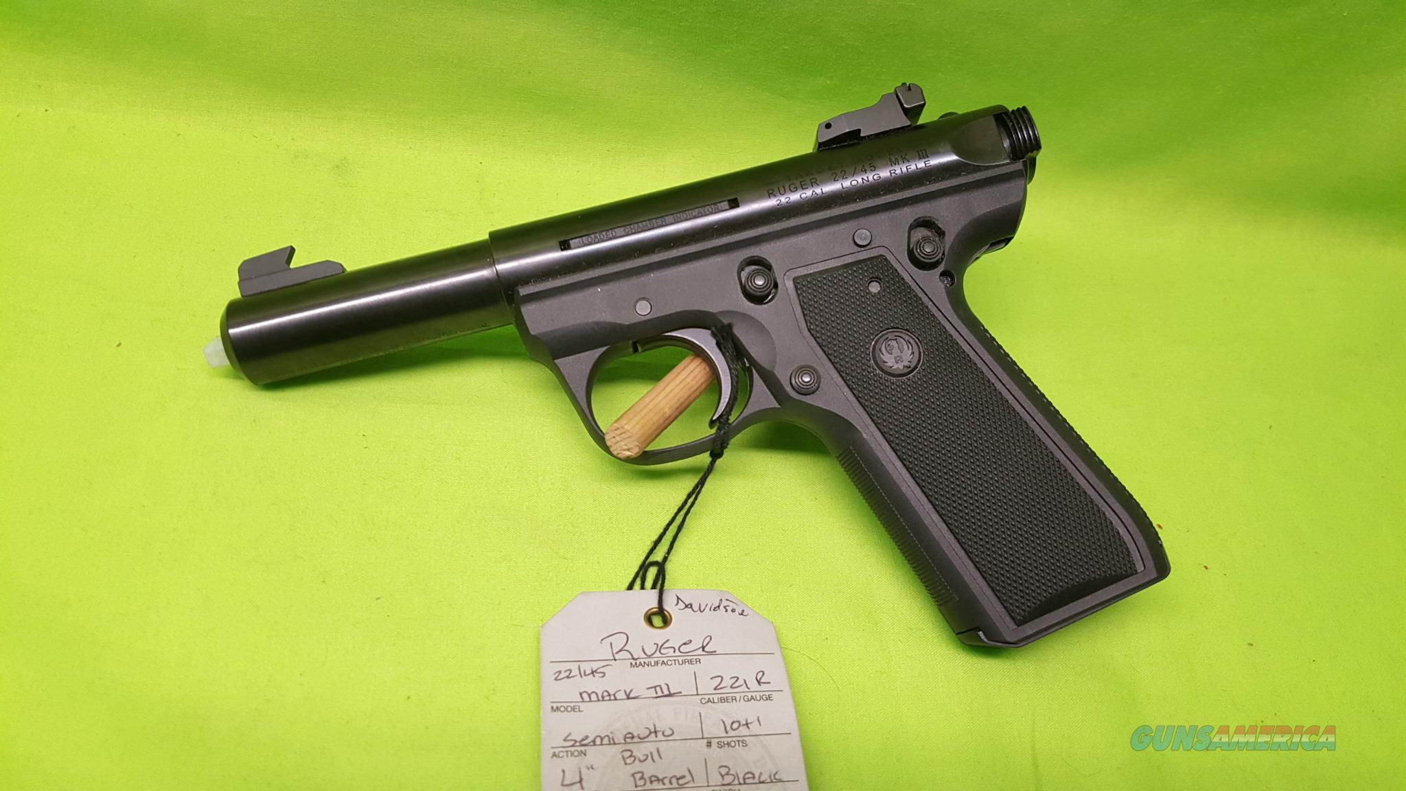 Ruger 22 45 Mark Iii 22lr 22 Lr 4 Quot Bull 10rd 10 For Sale