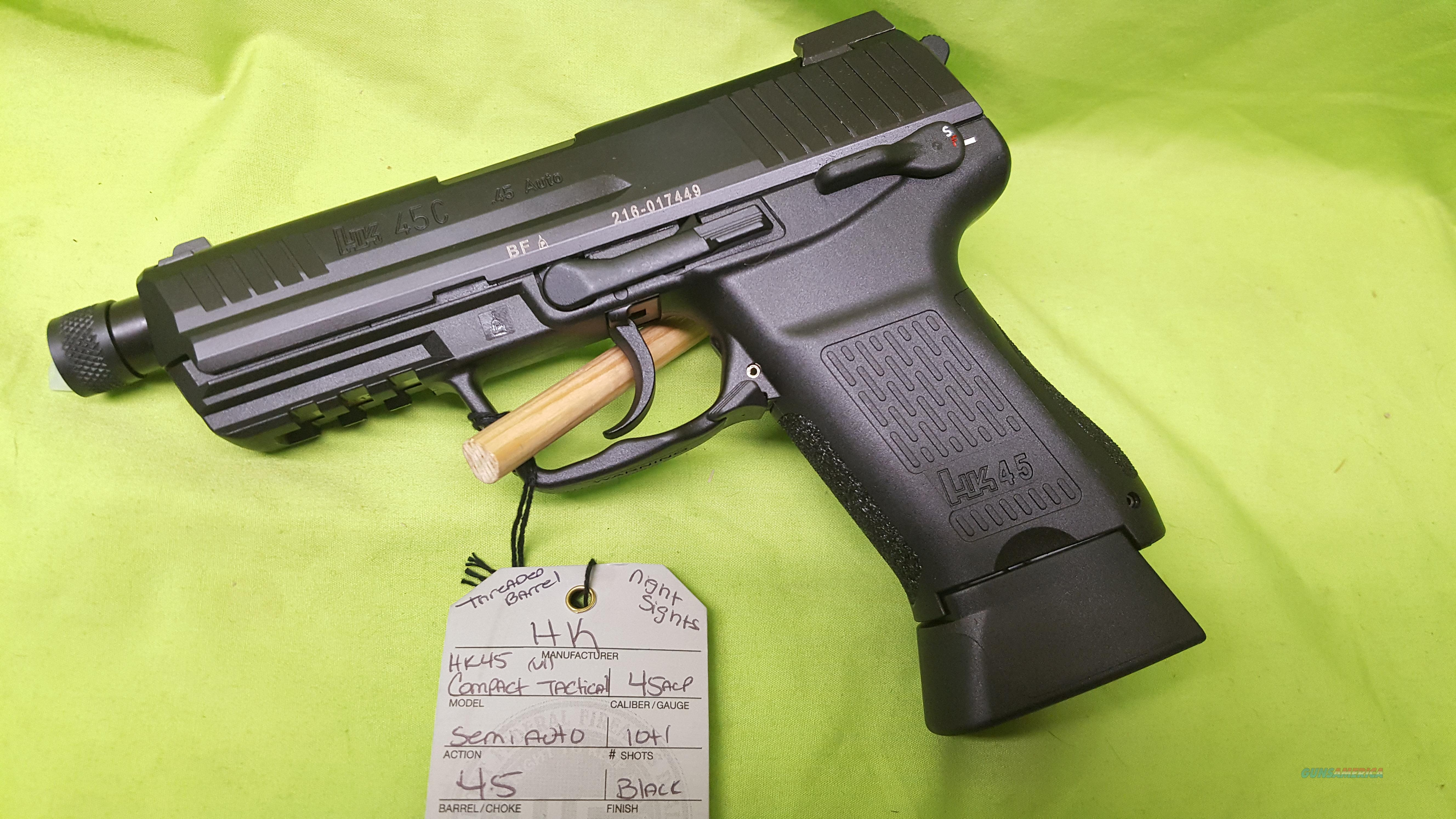 H&K HK HK45 C TACTICAL COMPACT .45 45ACP THREADED  Guns > Pistols > Heckler & Koch Pistols > Polymer Frame